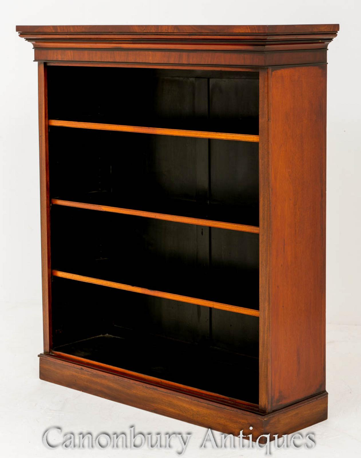 Details About Antique Mahogany Open Bookcase Openfront Circa 1860