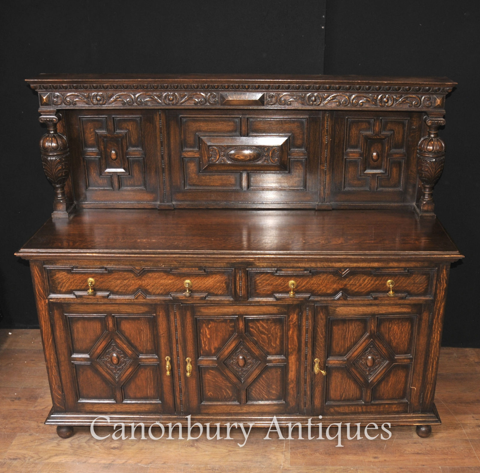 antique oak jacobean sideboard server buffet kitchen furniture ebay. Black Bedroom Furniture Sets. Home Design Ideas