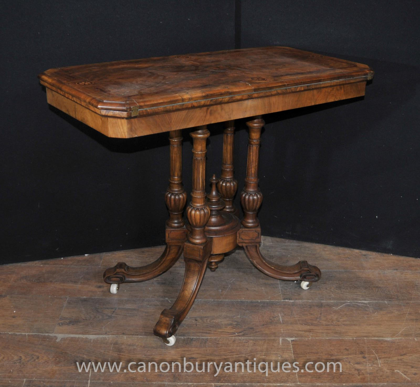 Antique victorian card games table walnut side end sofa for Sofa table vintage