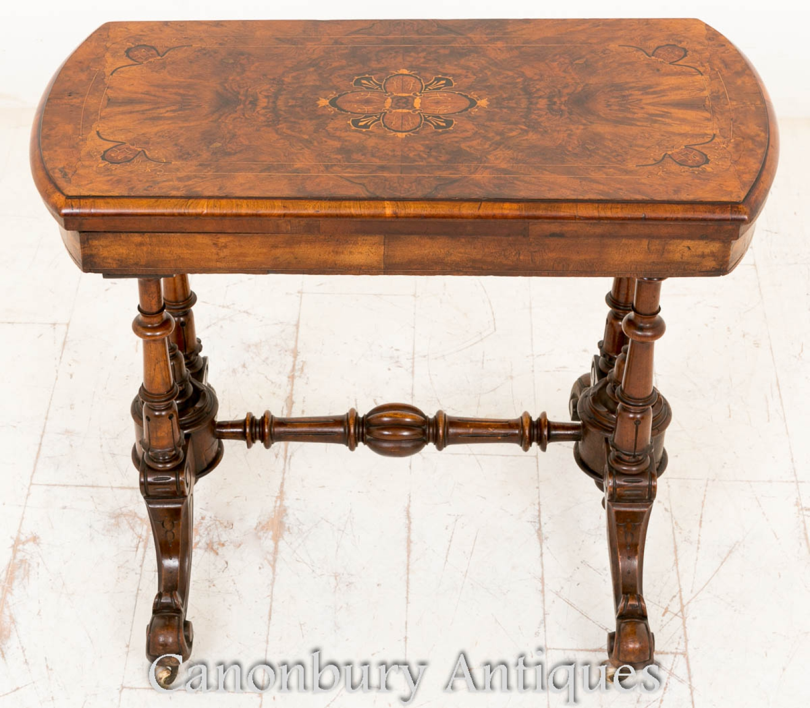 Victorian Card Table Antique Walnut Games Tables 1860 Ebay