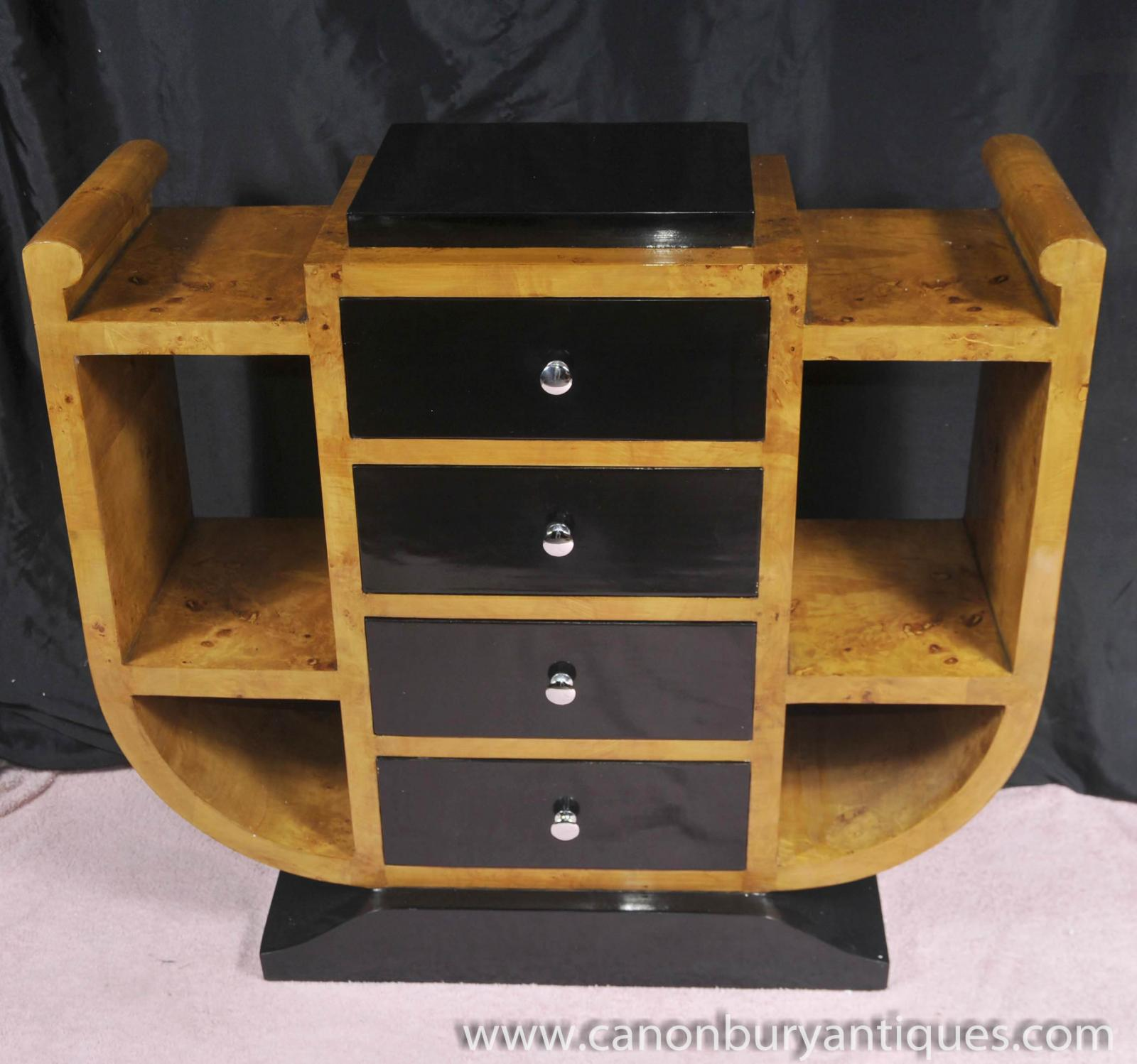 Art deco chest drawers commode 1920s walnut furniture ebay for Commode miroir art deco
