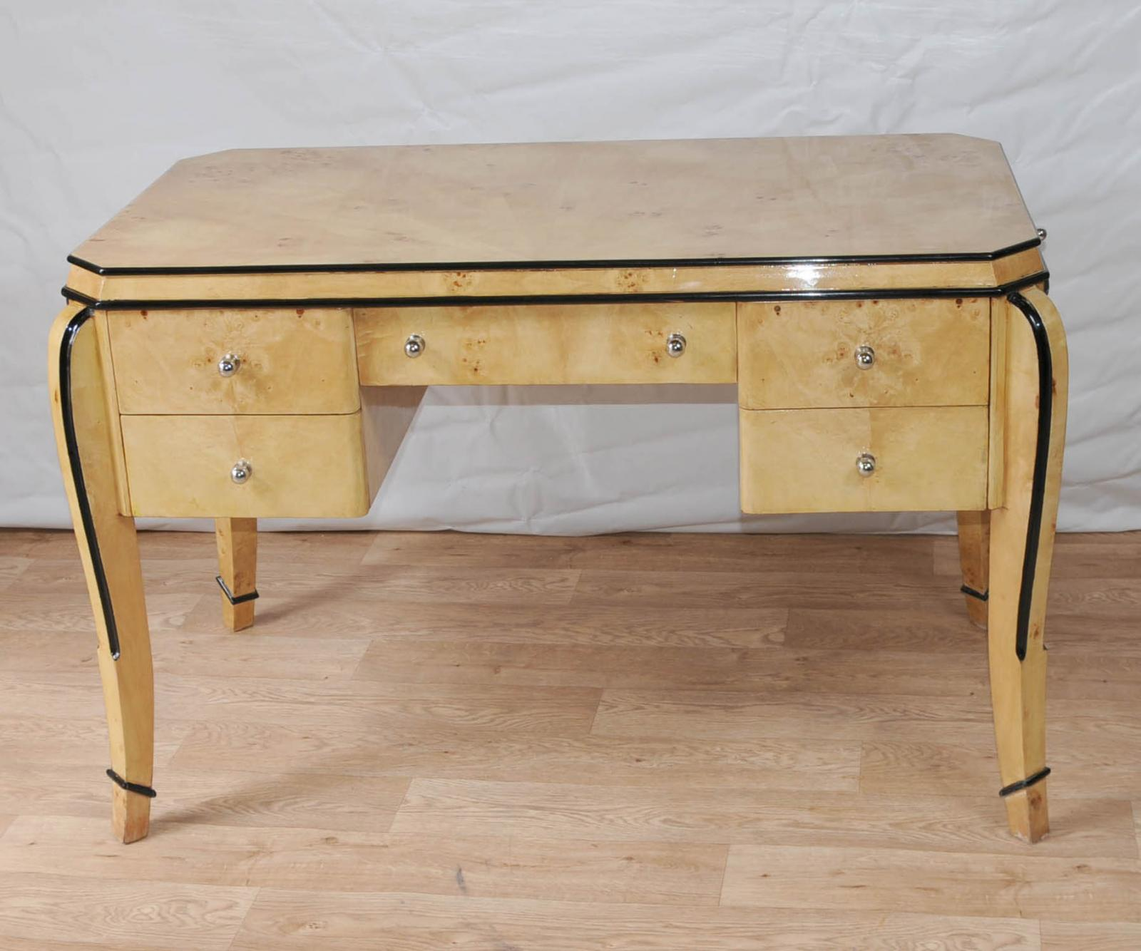 Art deco desk writing table bureau blonde walnut ebay for Deco bureau