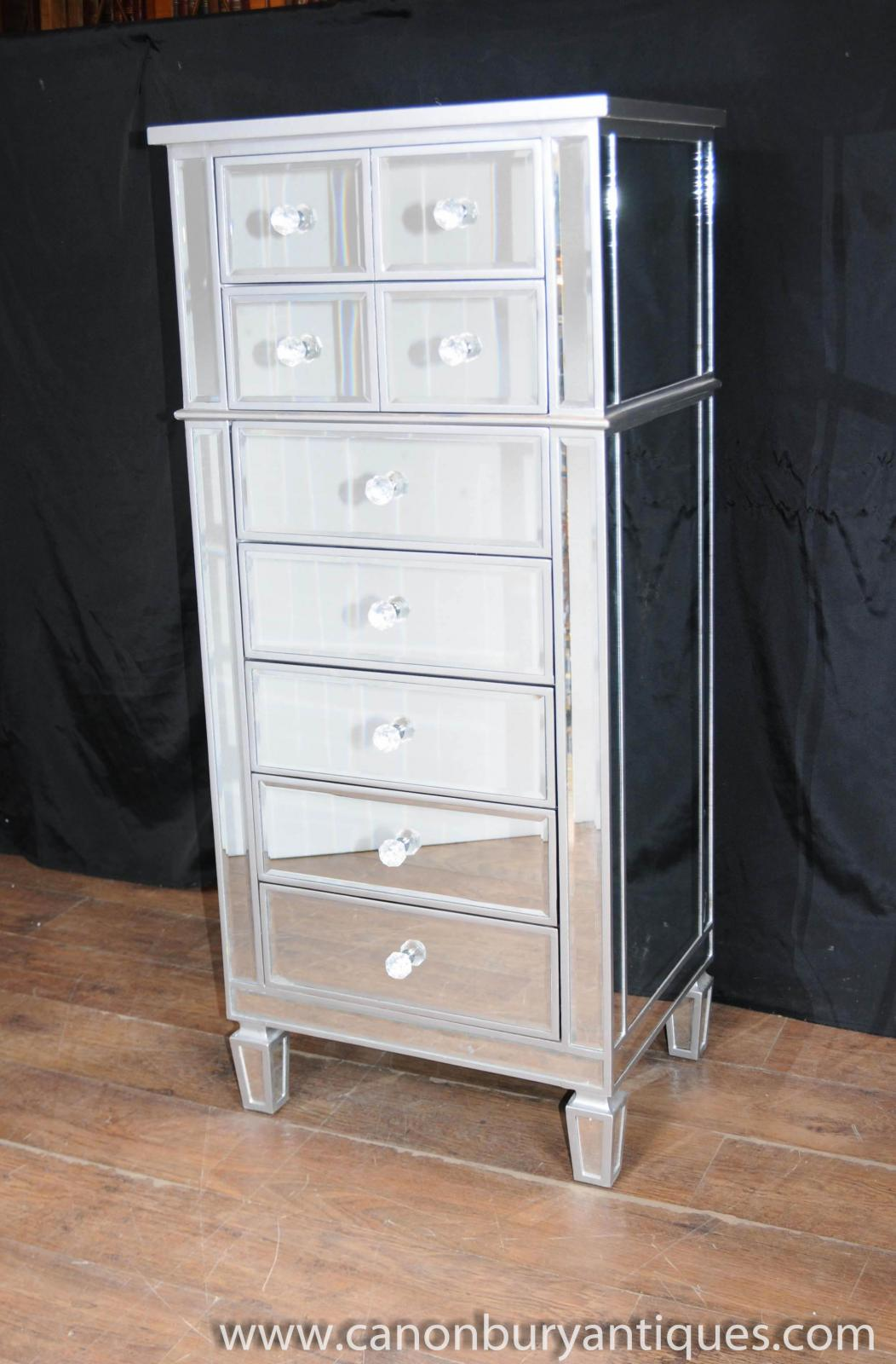 Art deco mirror chest drawers tall boy mirrored furniture for Commode miroir art deco