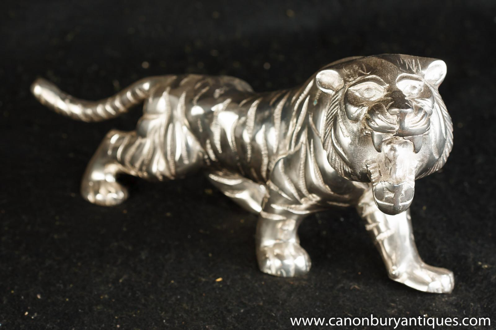 ... about Art Deco Silver Plate Sabre Tooth Tiger Statue Casting Cats
