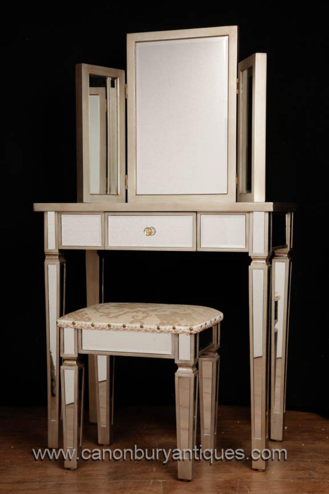 Art Deco Mirrored Dressing Table Stool Set Bedroom