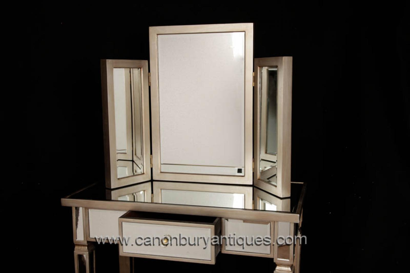 Art Deco Mirrored Dressing Table Stool Set Bedroom