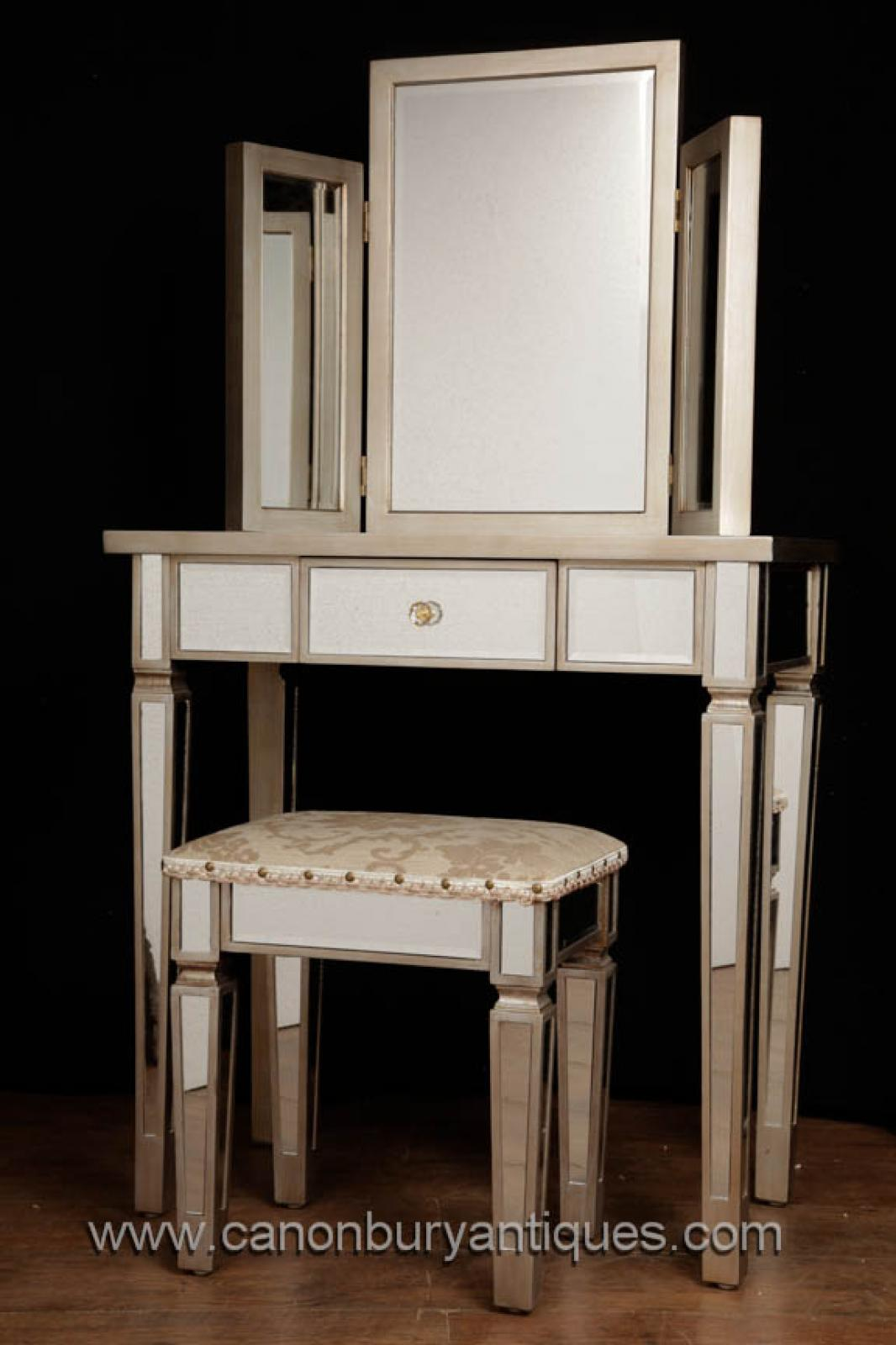 Pair Bed Stools: Art Deco Mirrored Dressing Table Stool Set Bedroom