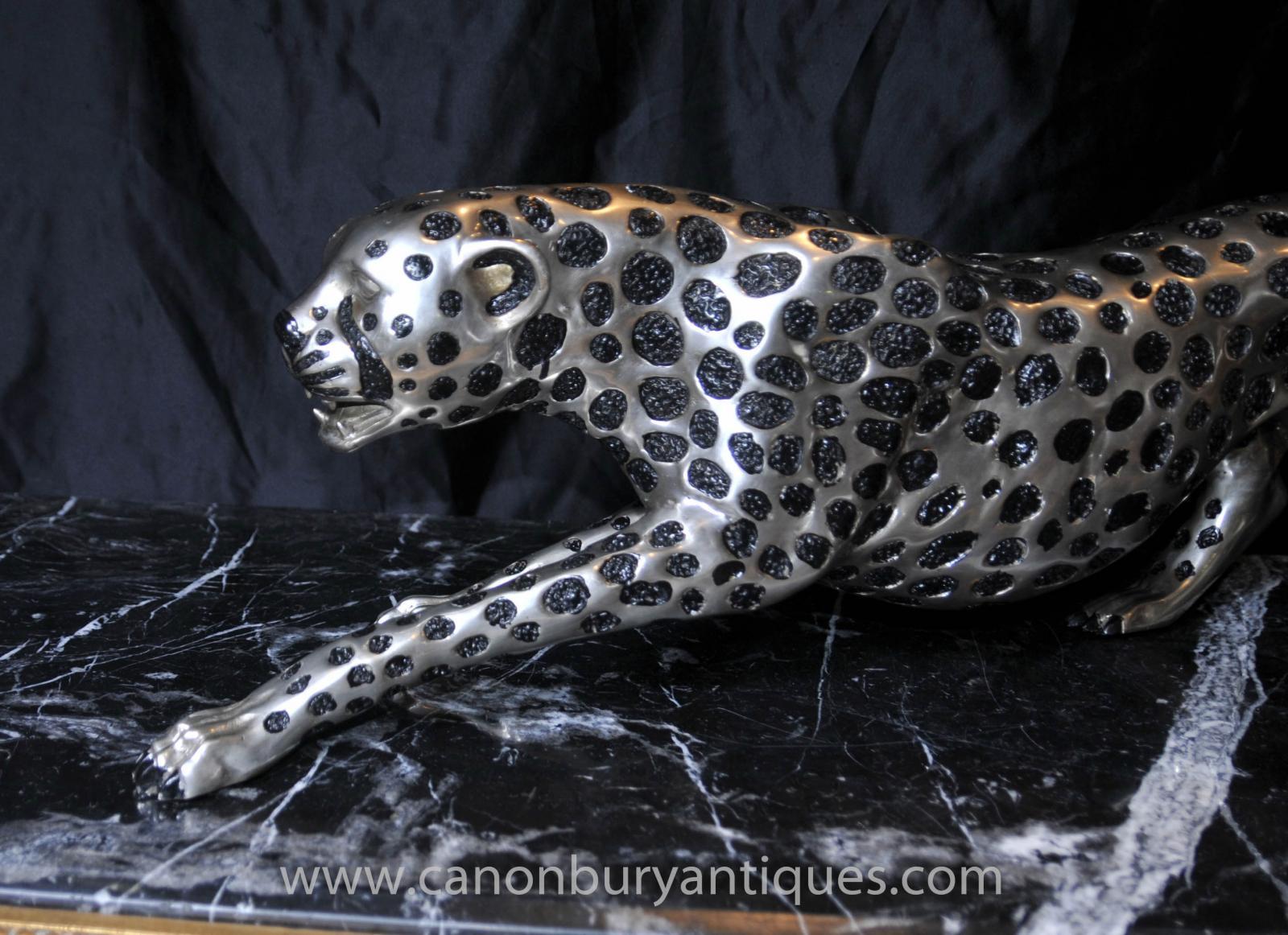 art deco silver bronze cheetah statue cats leopard feline ebay. Black Bedroom Furniture Sets. Home Design Ideas