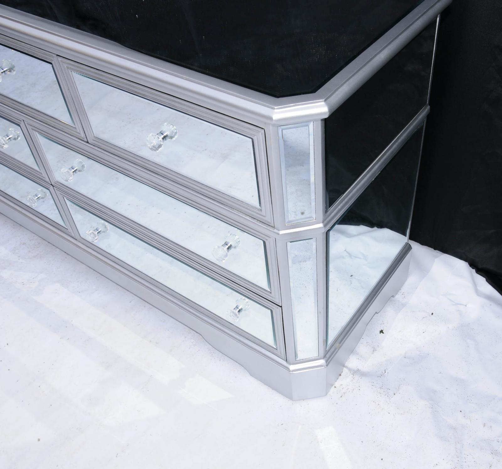 Big Mirrored Deco Chest Drawers mode Glass Furniture