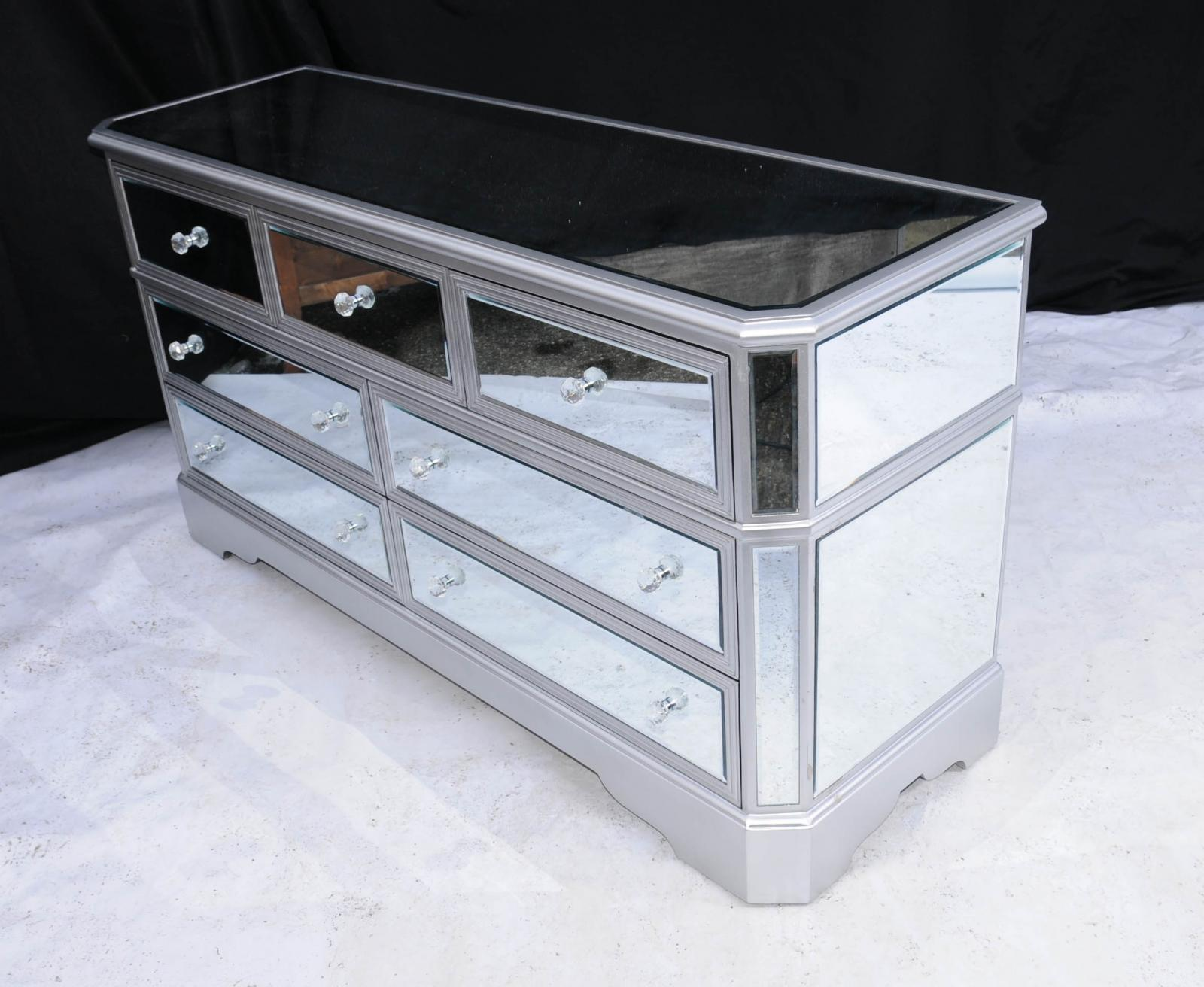 big mirrored deco chest drawers commode glass furniture ebay. Black Bedroom Furniture Sets. Home Design Ideas