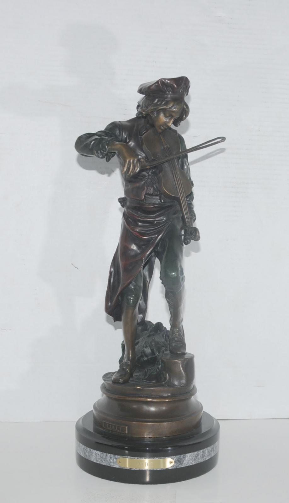 Bronze Violin Player Boy Statue Signed Lulli Gaudez Ebay