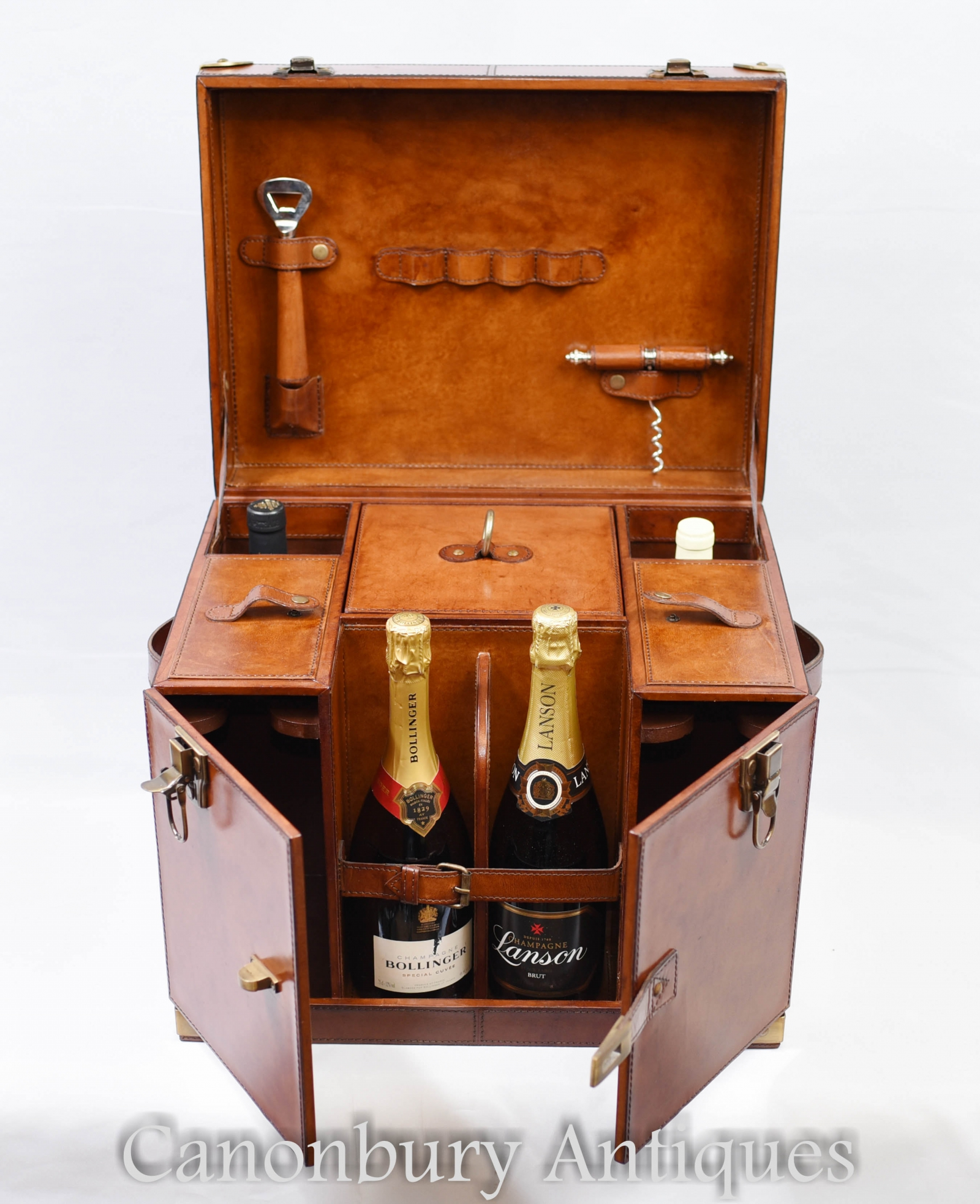 Details about english leather hamper wine champagne trunk box campaign furniture