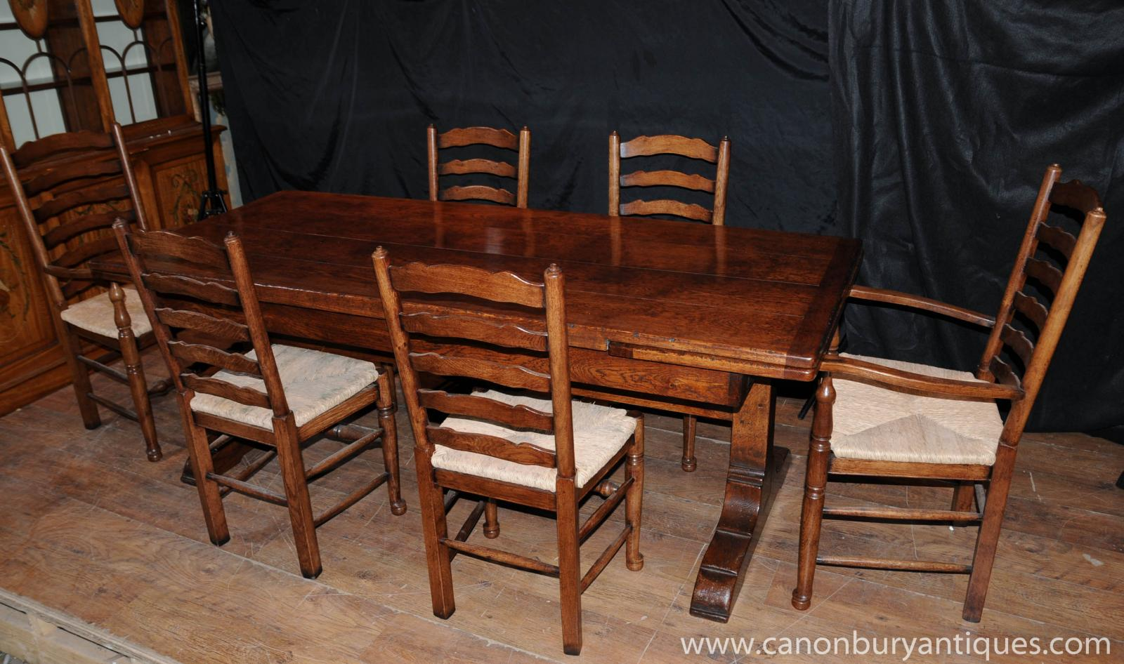 Farmhouse Kitchen Dining Set Refectory Table Set 6 Ladderback Chairs