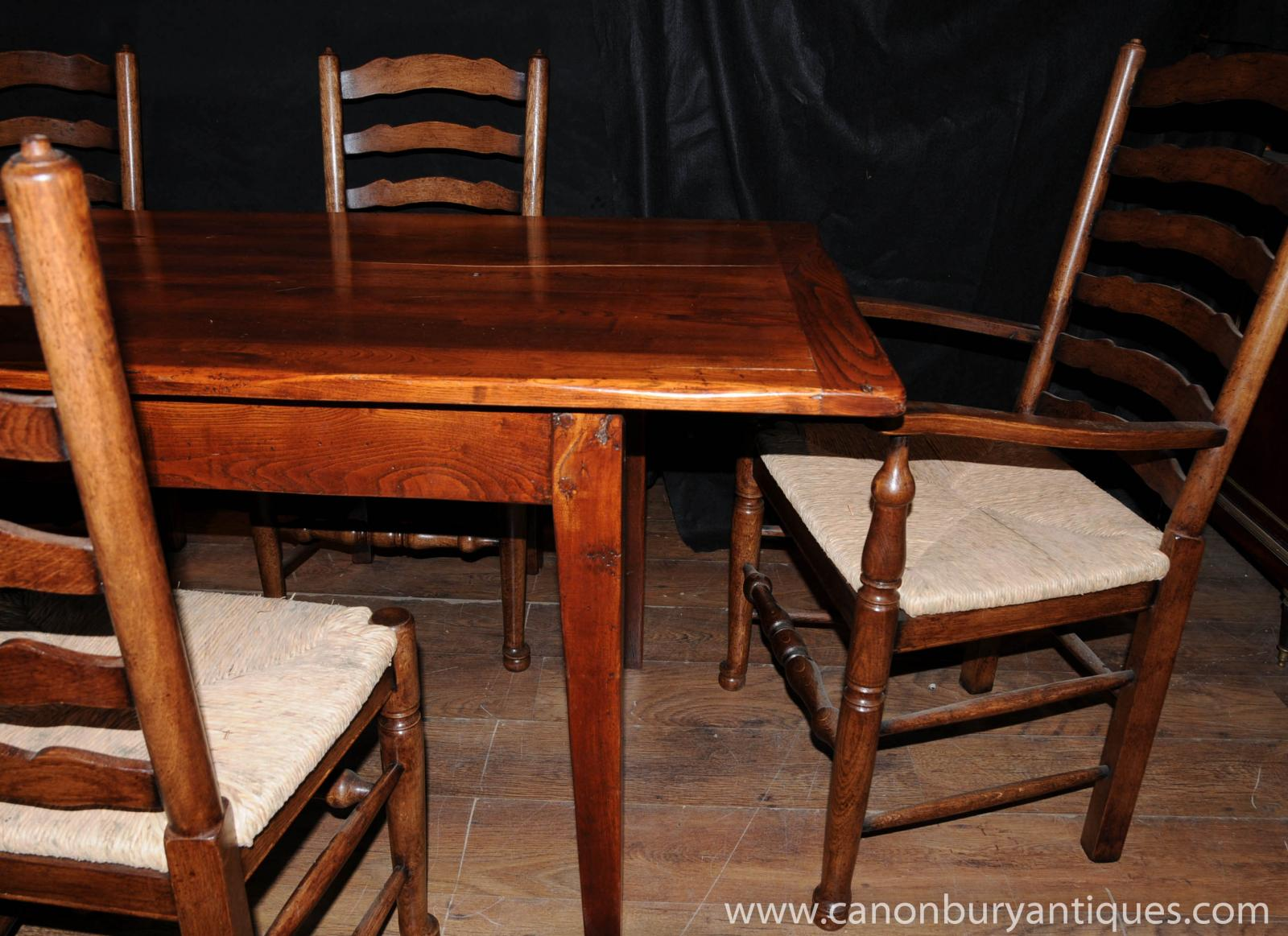 Farmhouse Kitchen Dining Set Refectory Table Set Ladderback Chairs