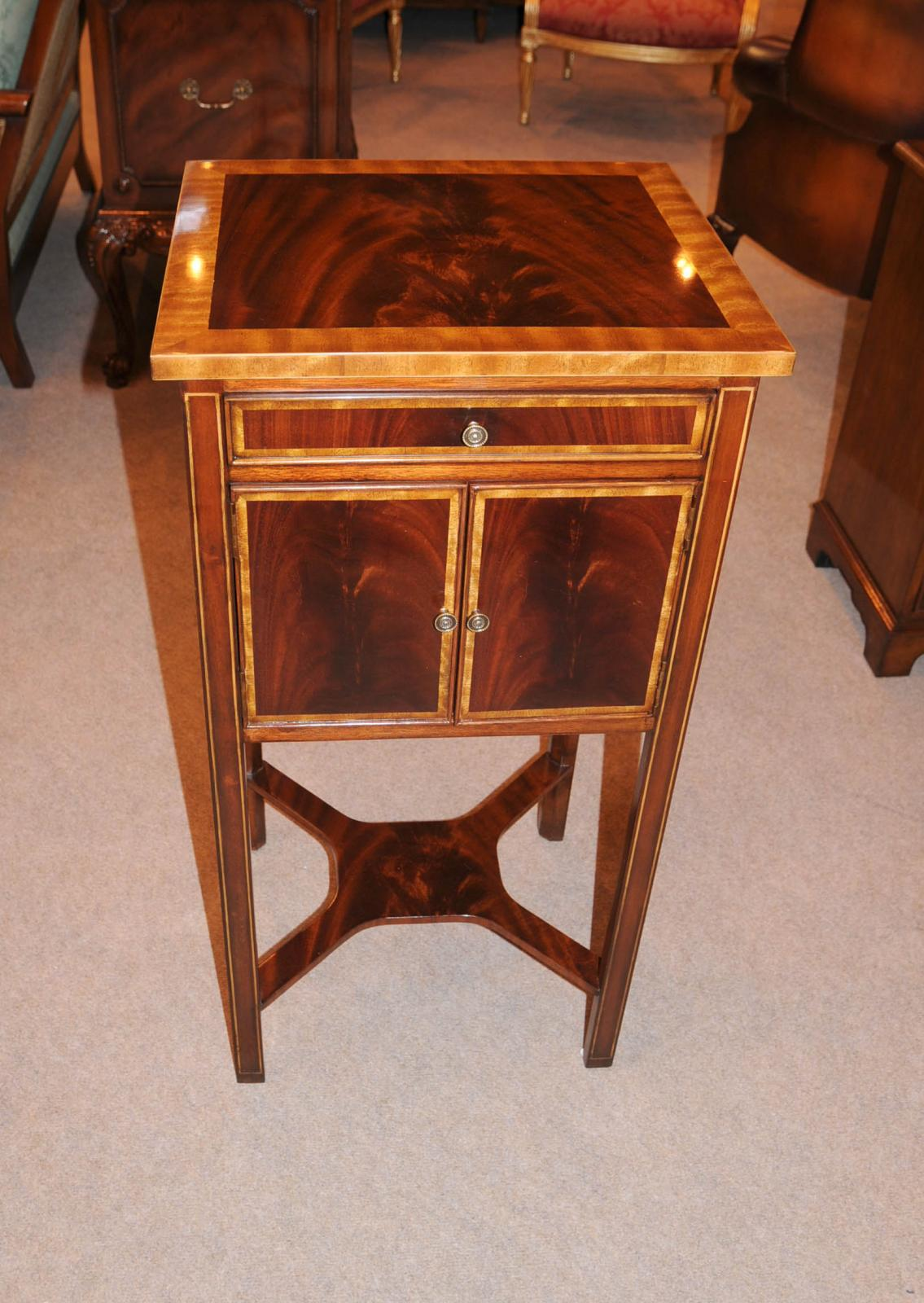 Flame mahogany regency bedside chest nightstand table ebay - Elegant types of nightstands ...
