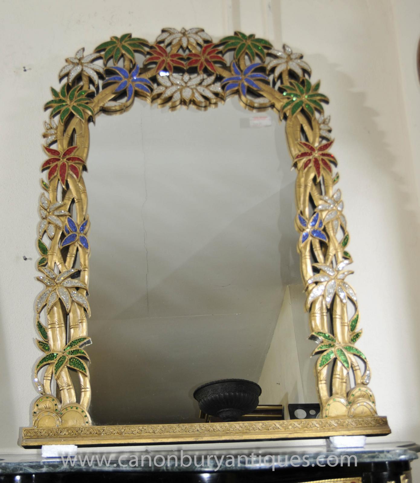 French art nouveau pier mirror tropical floral frame for Miroir art nouveau