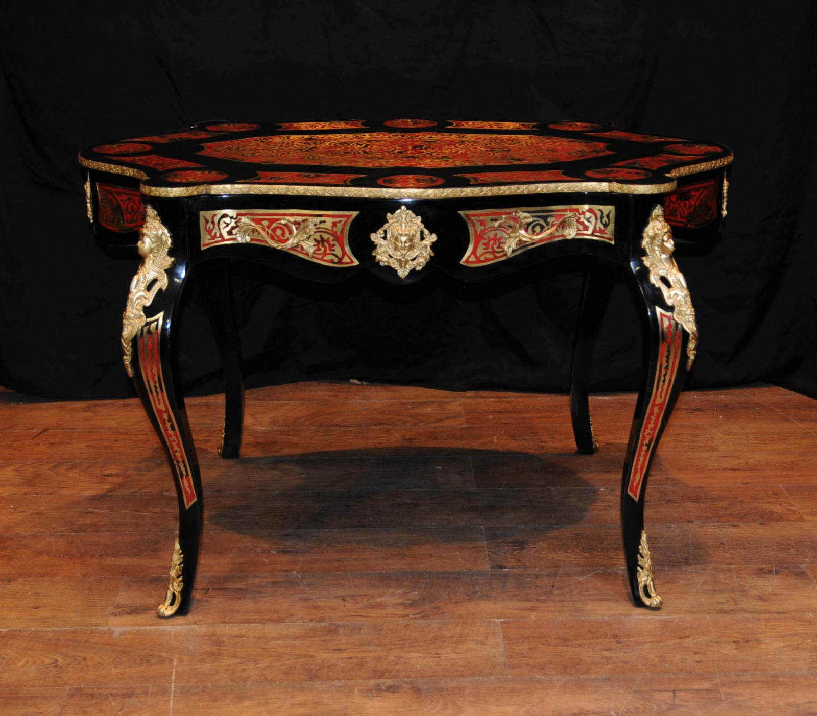 French boulle desk bureau plat scalloped inlay writing for Bureau table