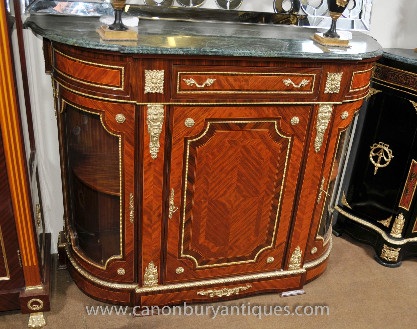 French Empire Cabinet Sideboard Kingwood Marble Top Credenza ...