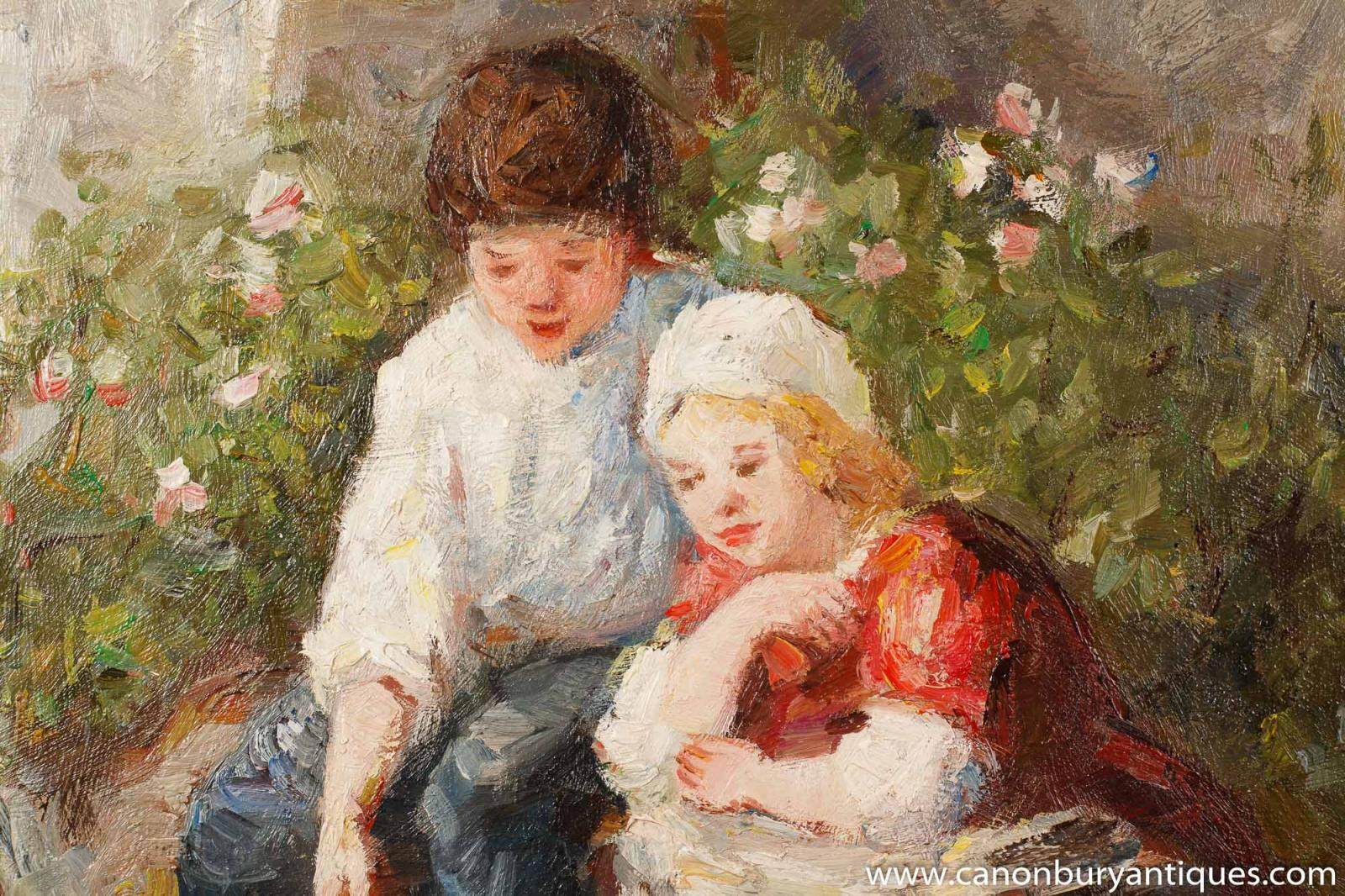 French impressionist oil painting children hens art gilt for Oil painting for kids