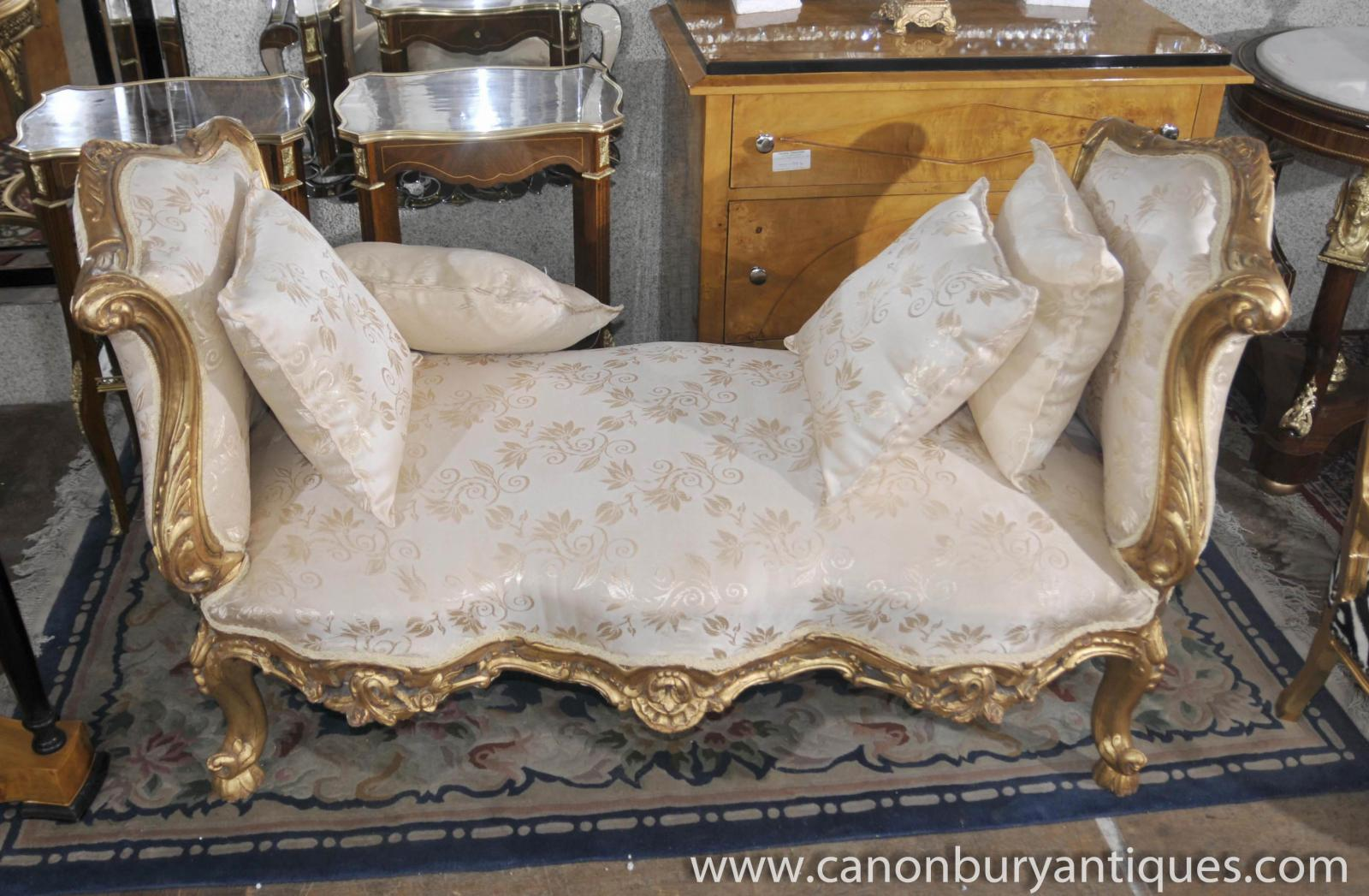 French louis xv sofa day bed chaise lounge longue chair ebay for Chaise longue sofa bed ebay
