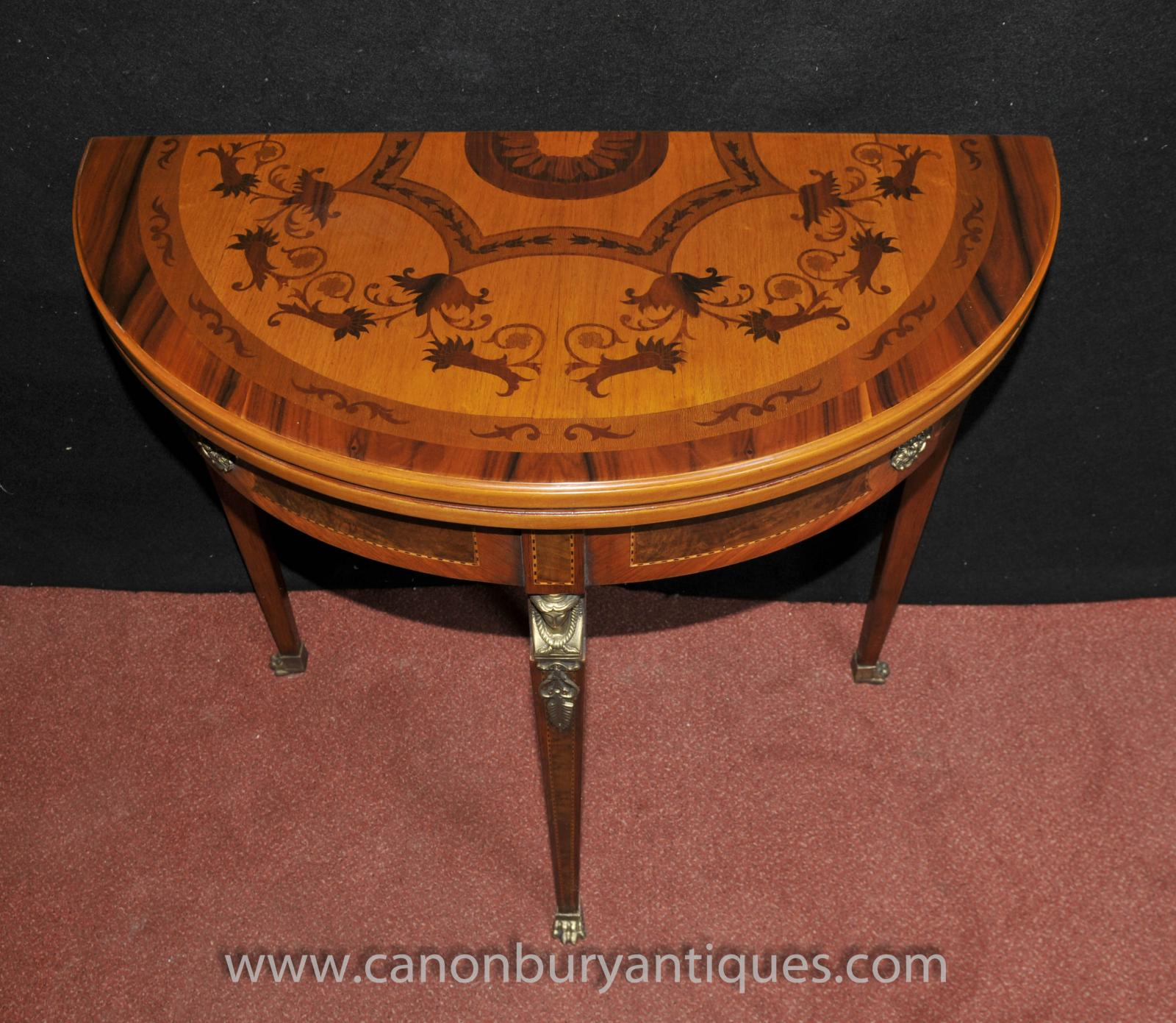 French Napoleon Demi Lune Card Table Console Games Tables