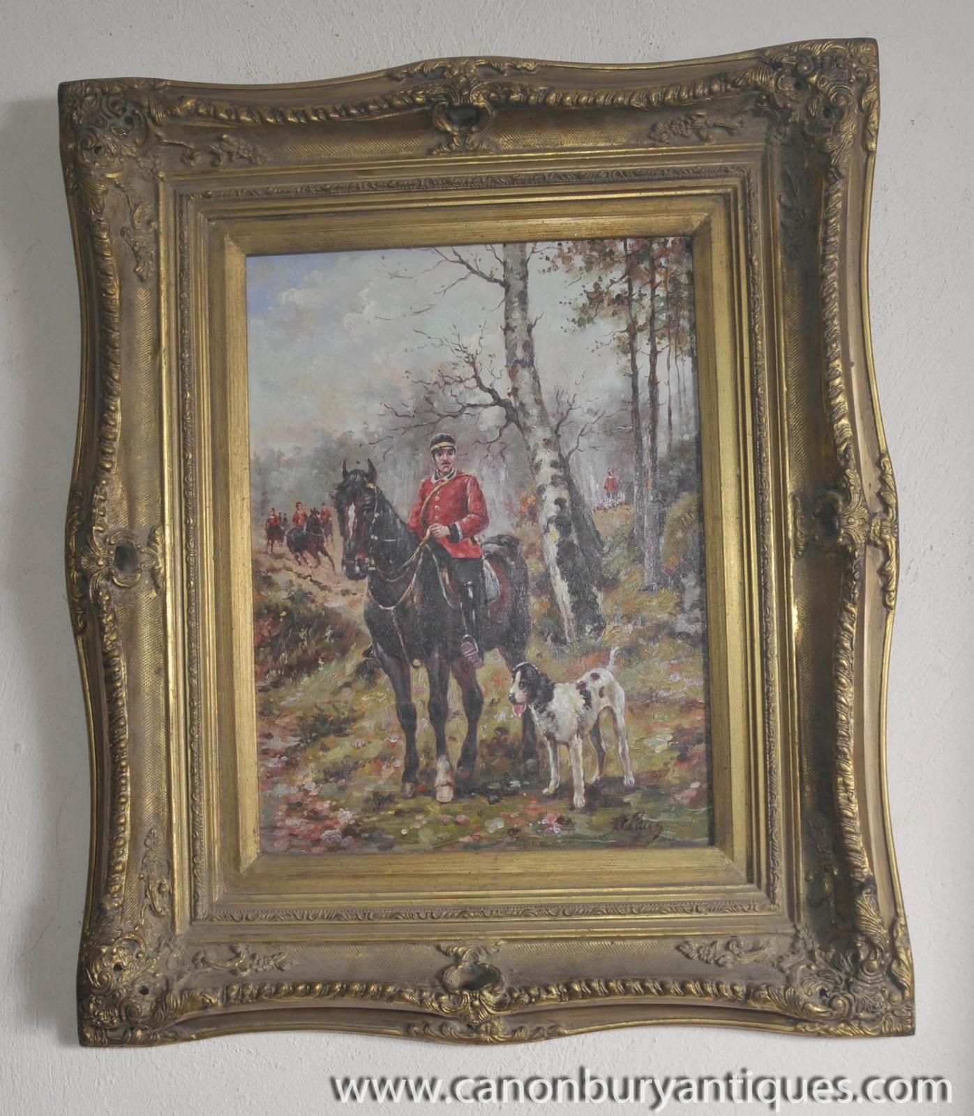 french oil painting hussar soldier horseback portrait gilt