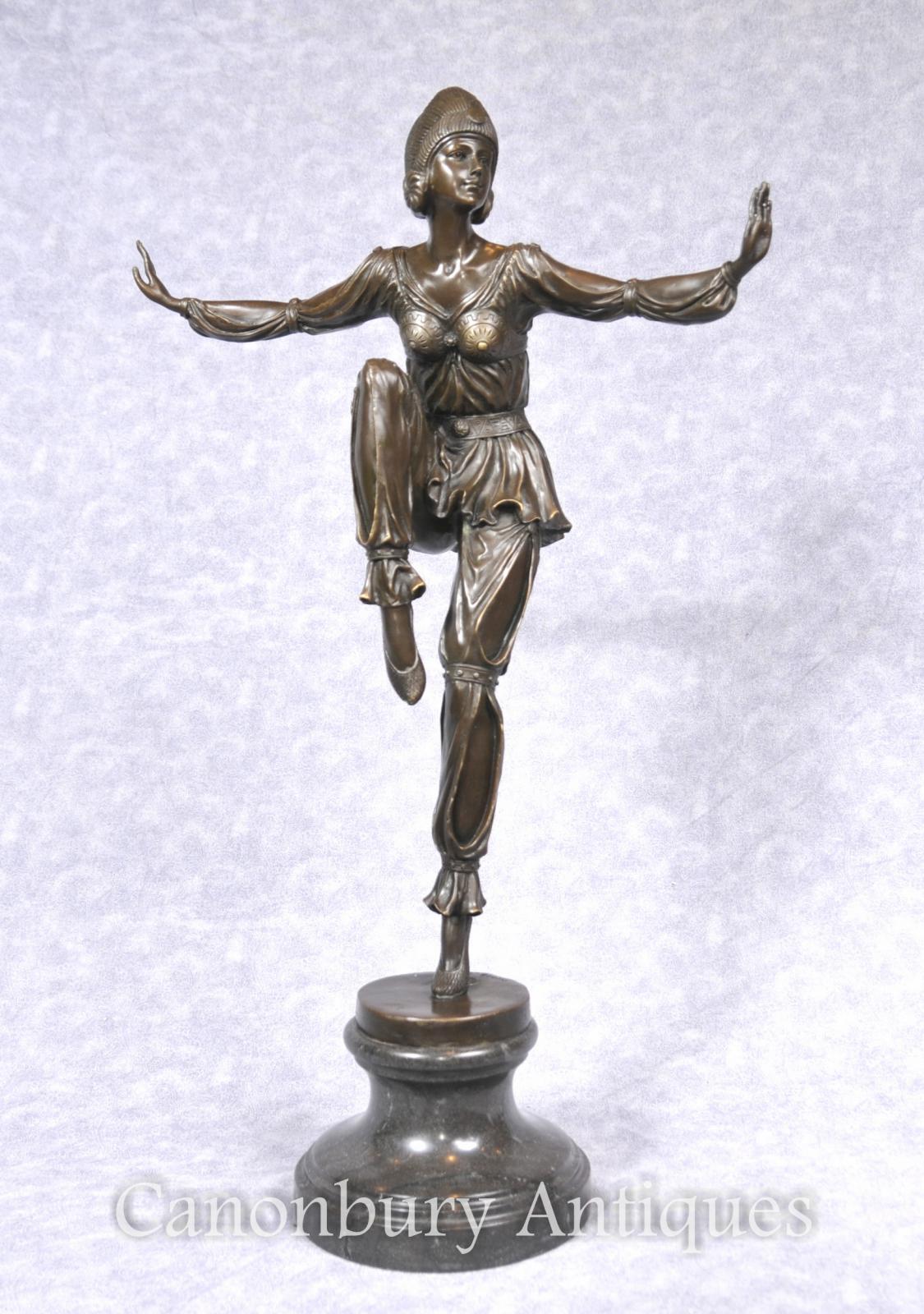 French Art Deco Bronze Egyptian Dancer Flapper Figurine Statue Ebay