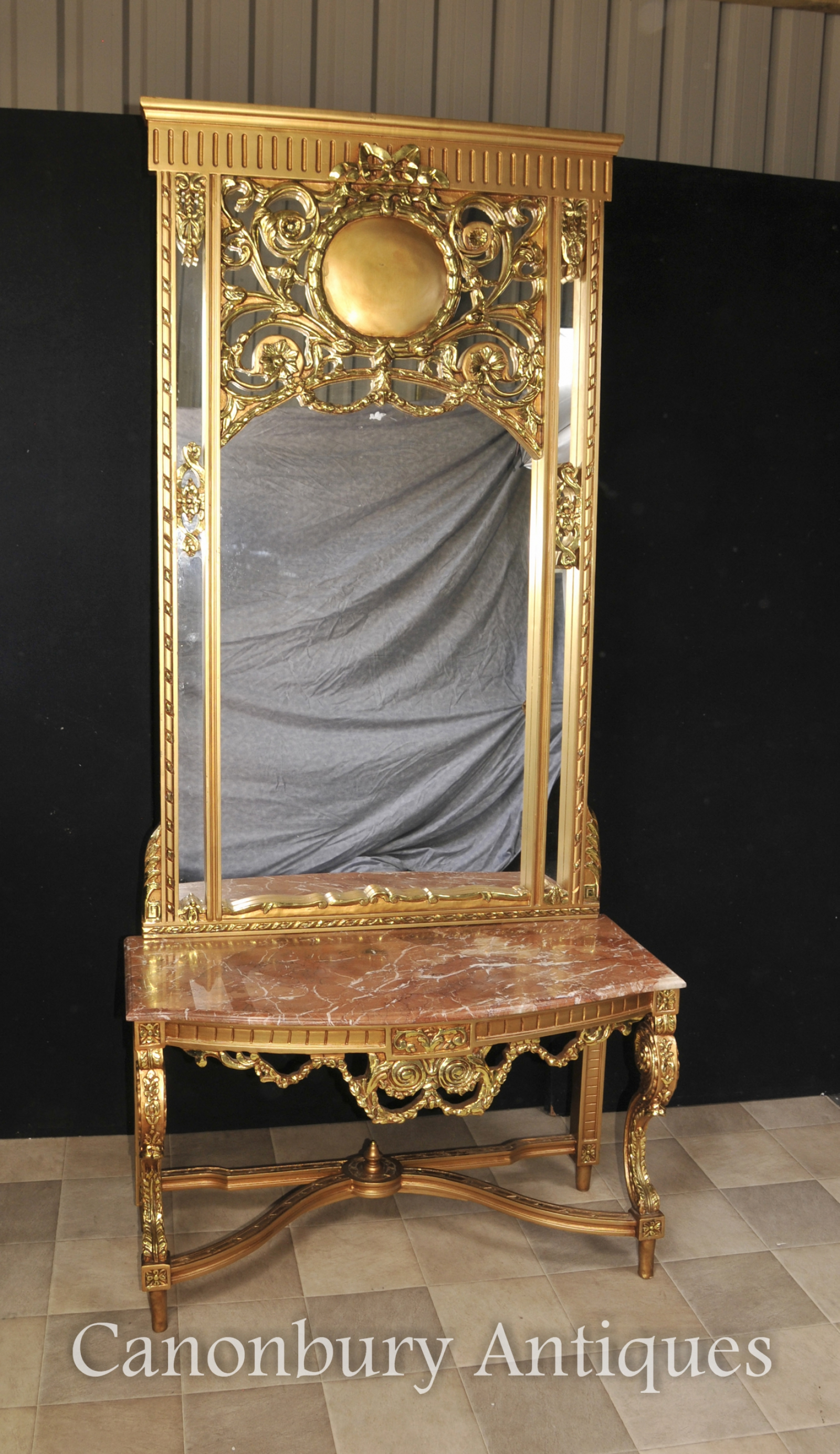 French empire gilt console table and mirror set hall for Foyer console table and mirror set