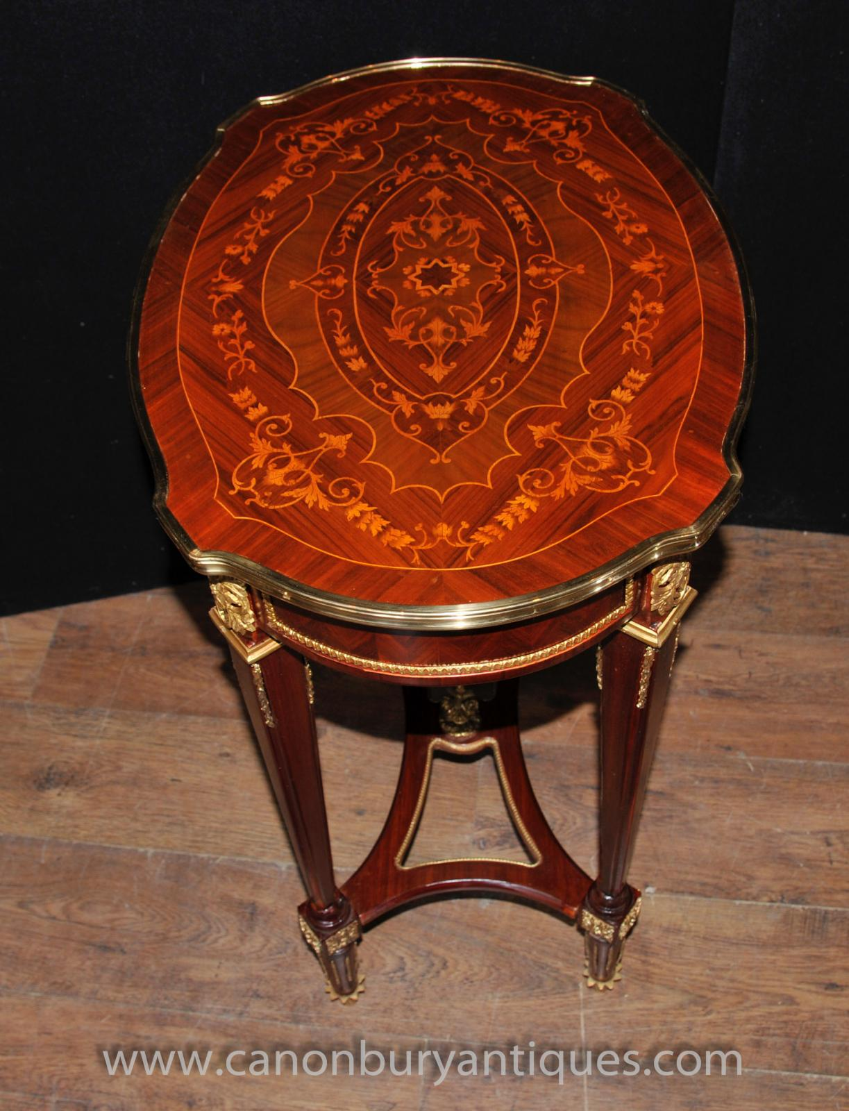french louis xvi oval side table marquetry inlay tables ebay. Black Bedroom Furniture Sets. Home Design Ideas