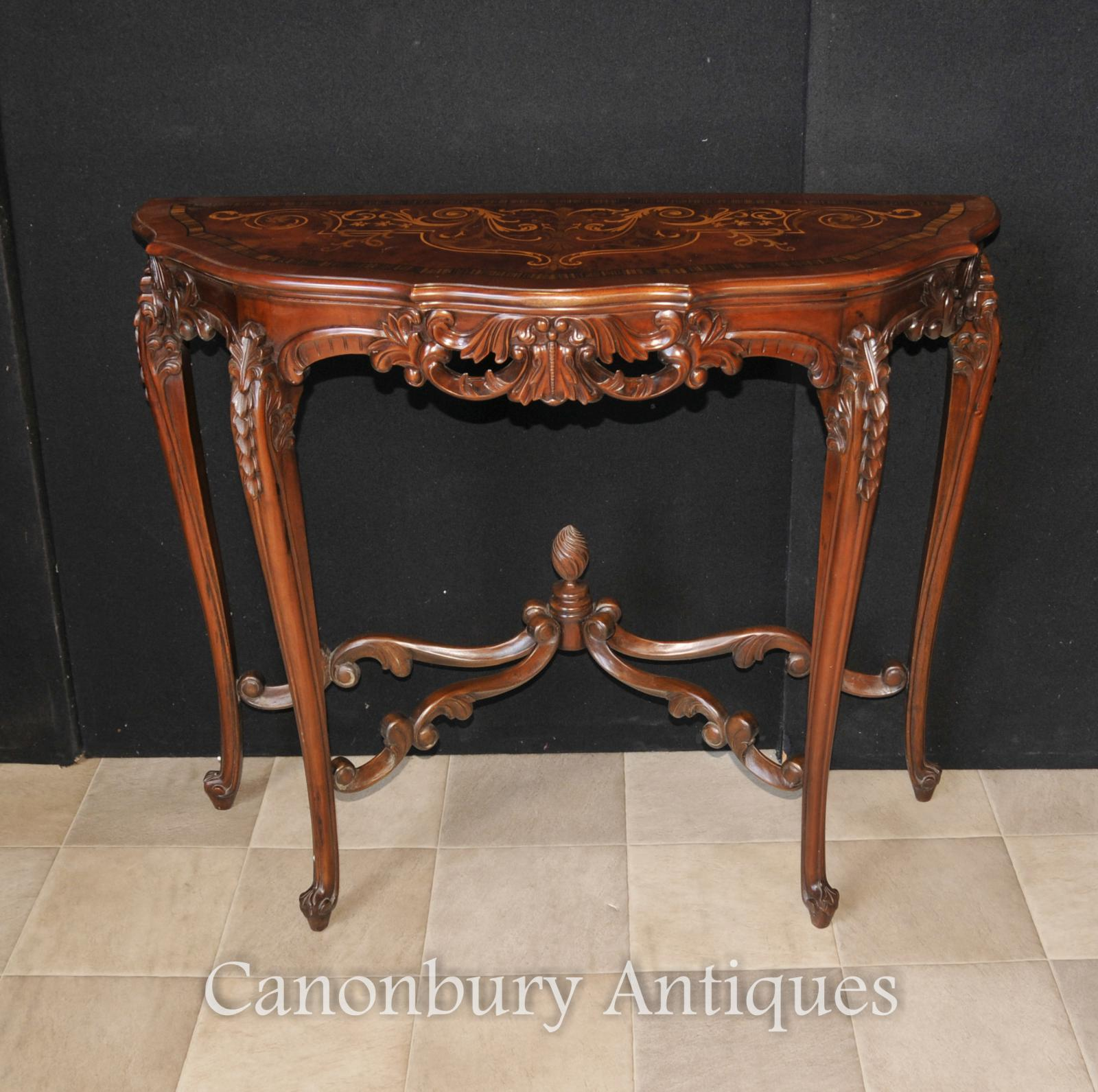 French regency demi lune console table marquetry inlay ebay for Table de cuisine demi lune