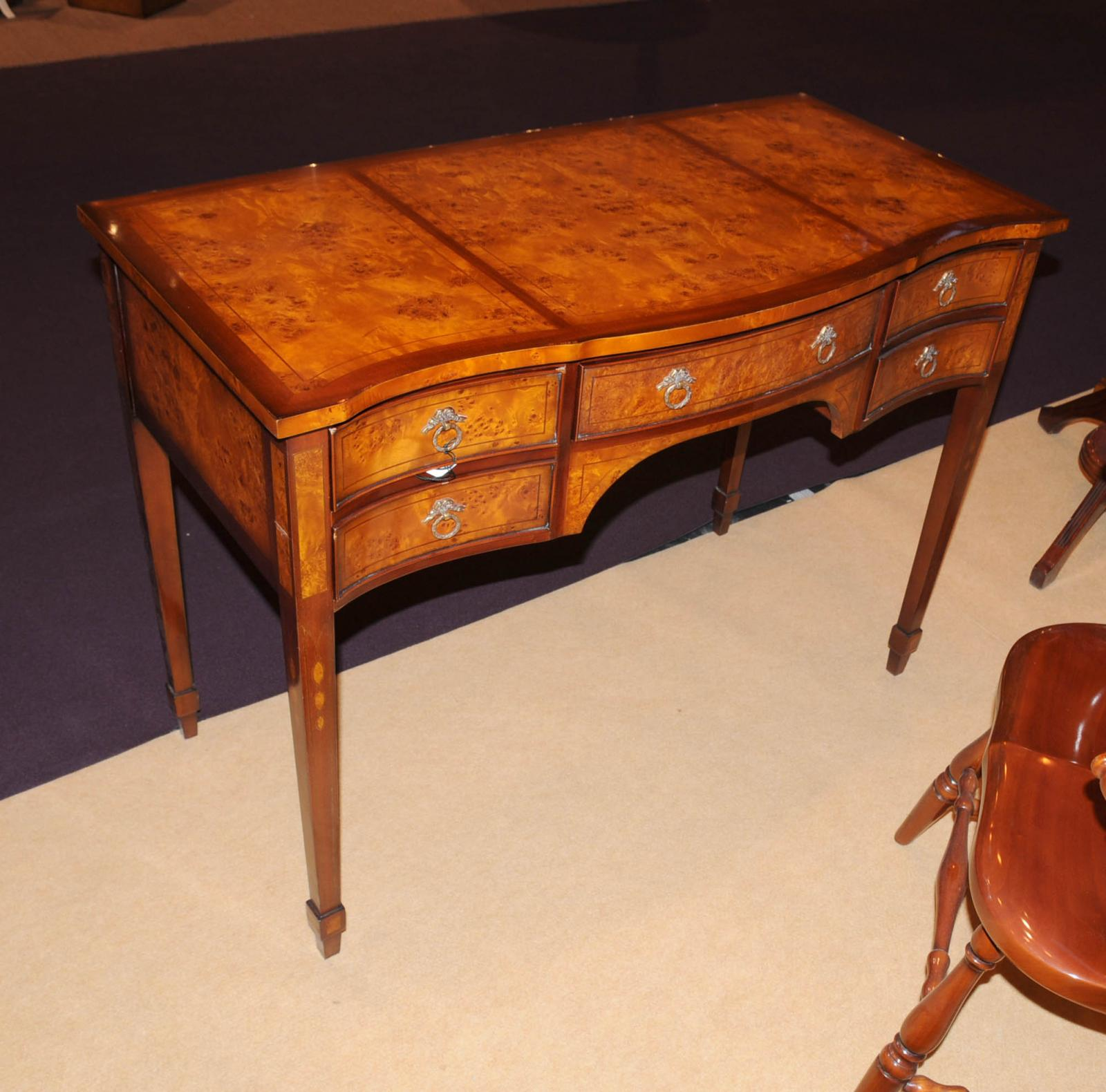 George ii writing desk bureau serpentine desks burl walnut for Bureau table