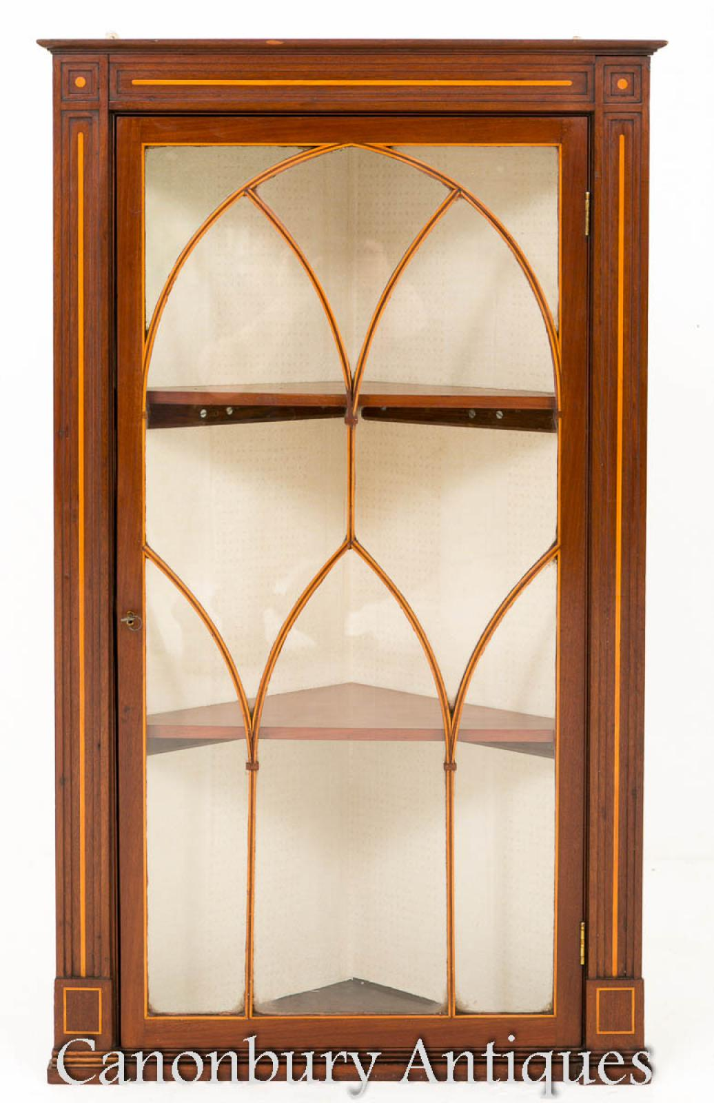 Details About Georgian Corner Cabinet Hanging Cabinets Inlay