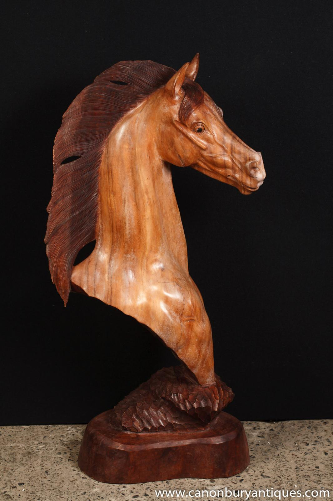 Hand carved italian horse bust sculpture horses pony ebay