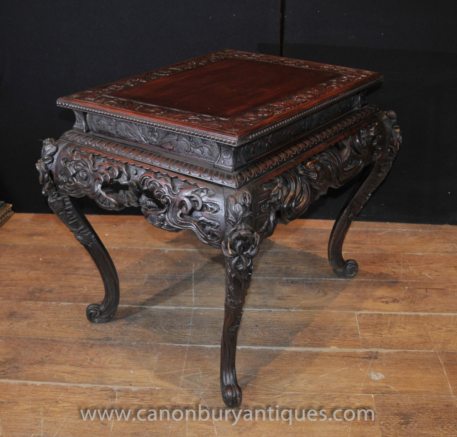 Hand carved antique chinese mahogany coffee table side tables ebay Carved coffee table