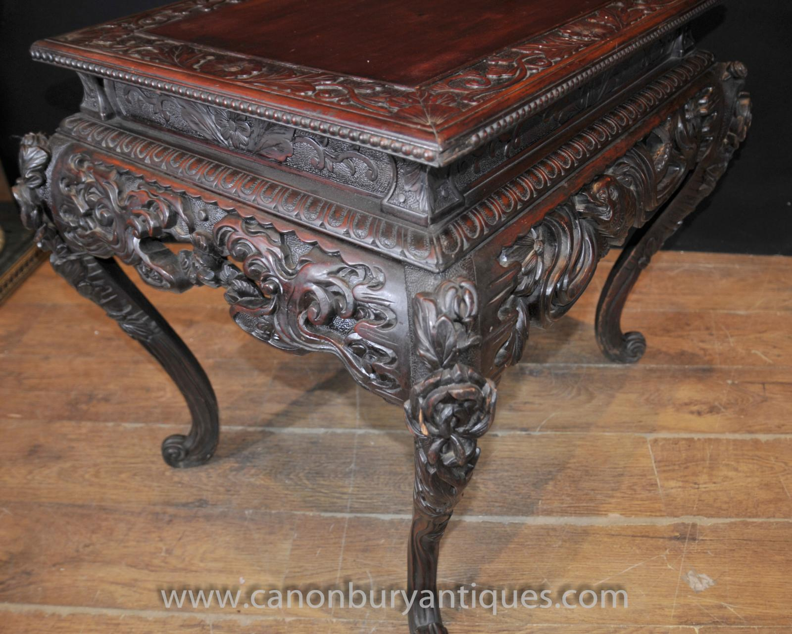 Hand carved antique chinese mahogany coffee table side tables ebay Hand carved coffee table