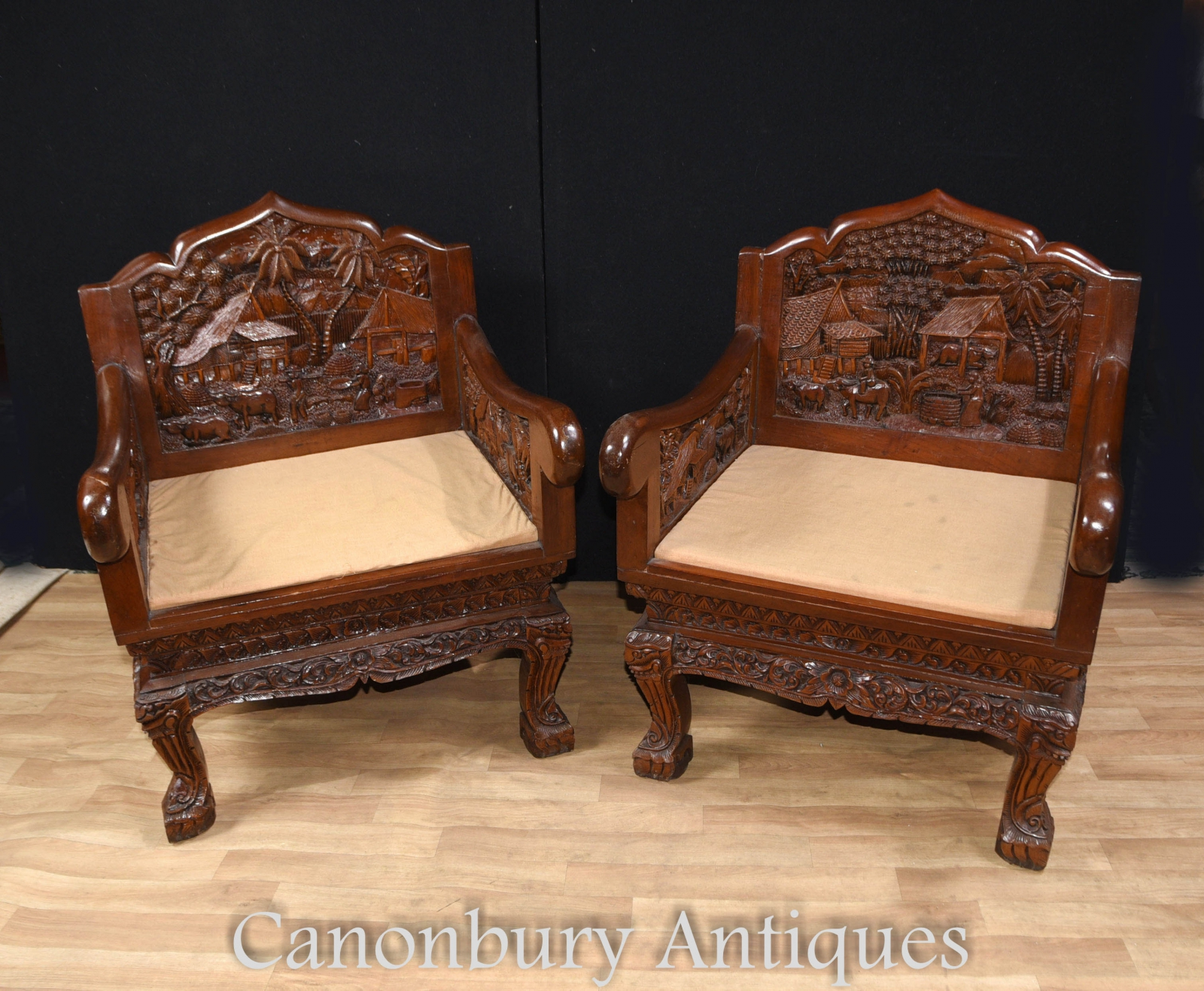 Piece Description Gorgeous Chinese Hardwood Carved Pair Of Arm Chairatching Coffee Table