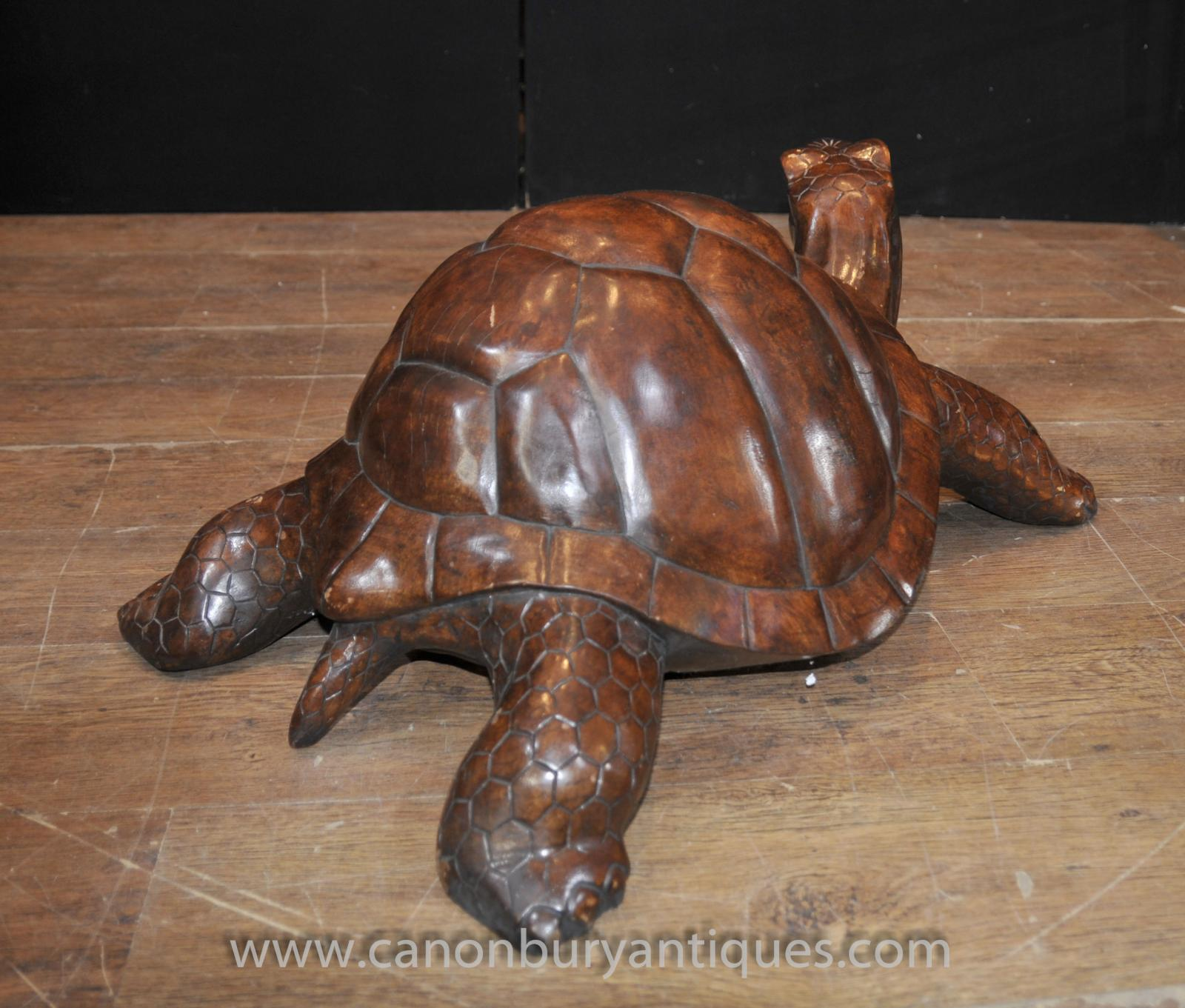 Hand carved giant tortoise statue wooden carving animals