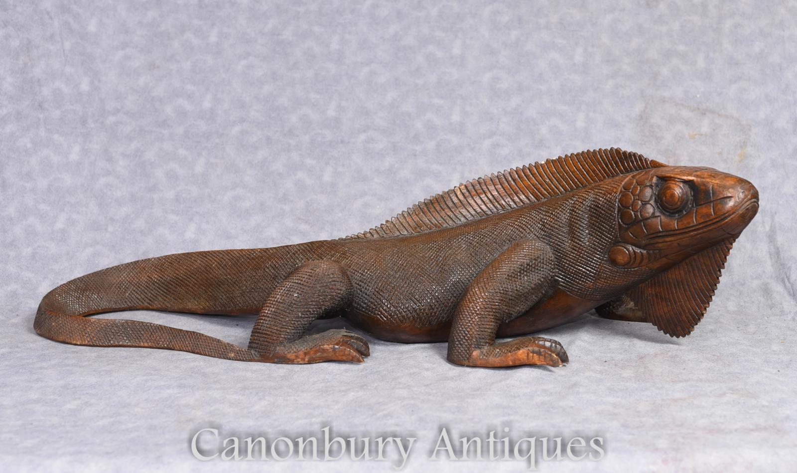 Details About Hand Carved Komodo Dragon Sculpture Lizard Reptile Art