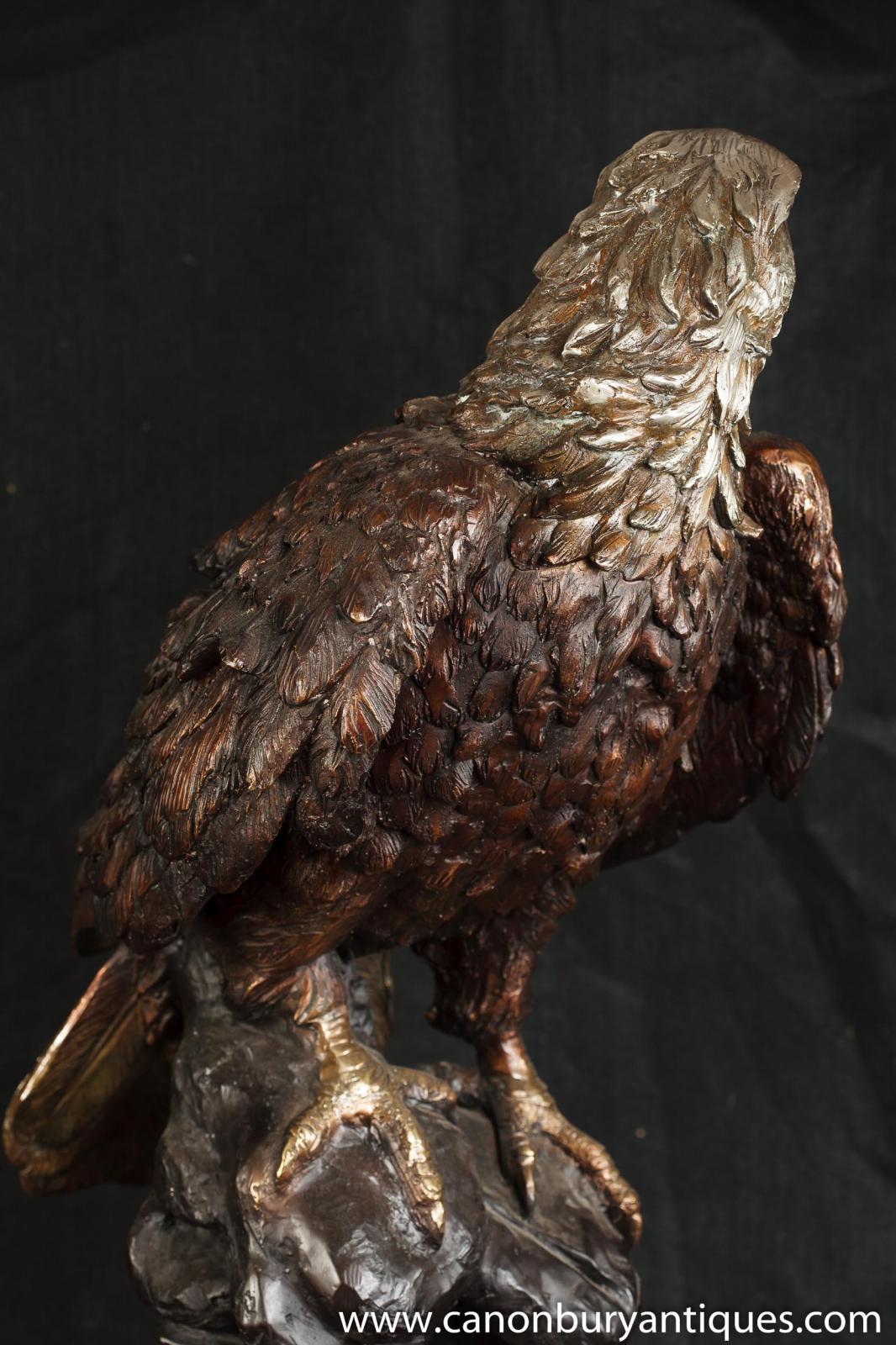 Large Bronze American Golden Eagle Statue Bird Prey Casting