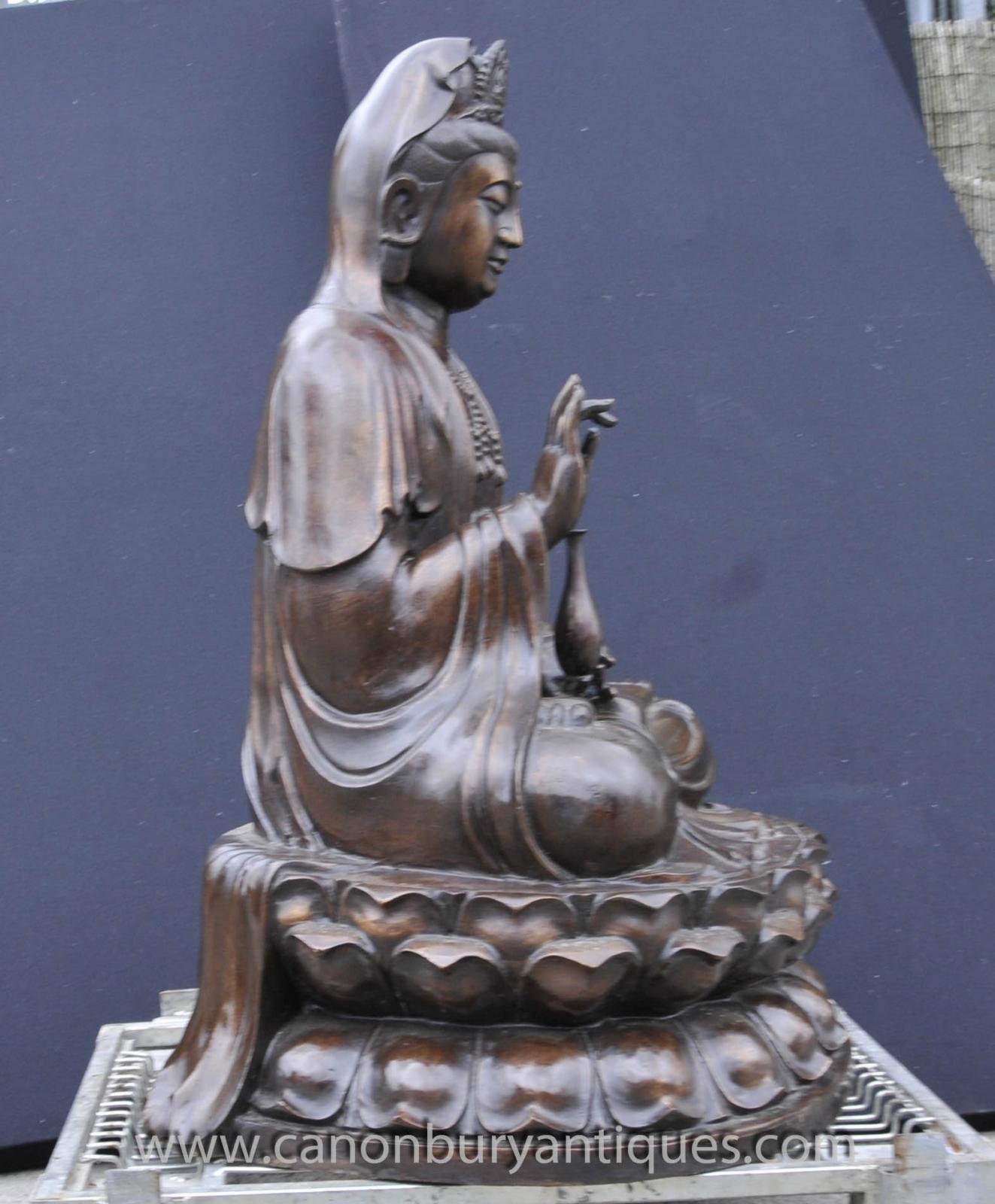 Buddhism: Large Bronze Burmese Buddha Statue Lotus Figurine Buddhist