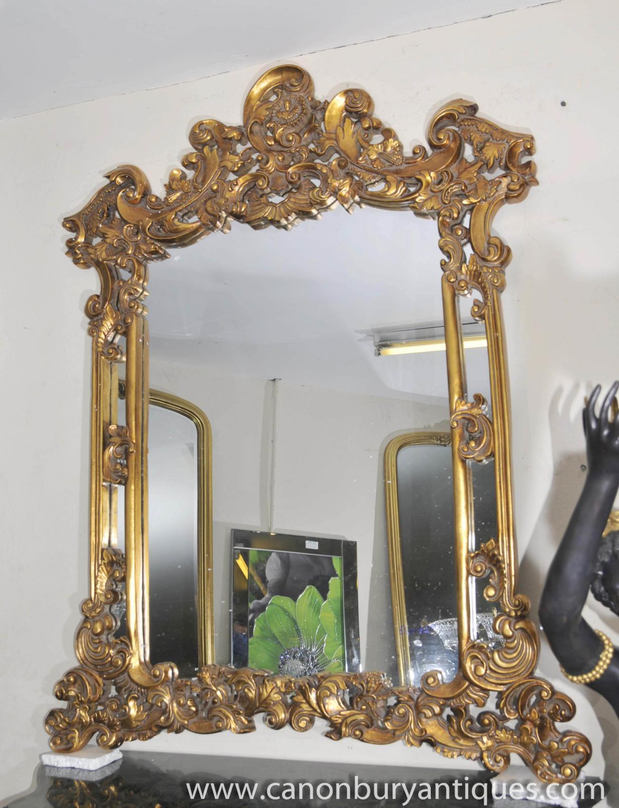 Large louis xv rococo gilt mantle mirror pier mirrors ebay for Mantle mirror
