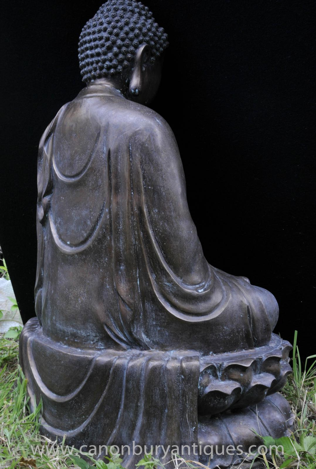 large tibetan bronze buddha statue buddhism lotus meditation pose buddhist art ebay. Black Bedroom Furniture Sets. Home Design Ideas