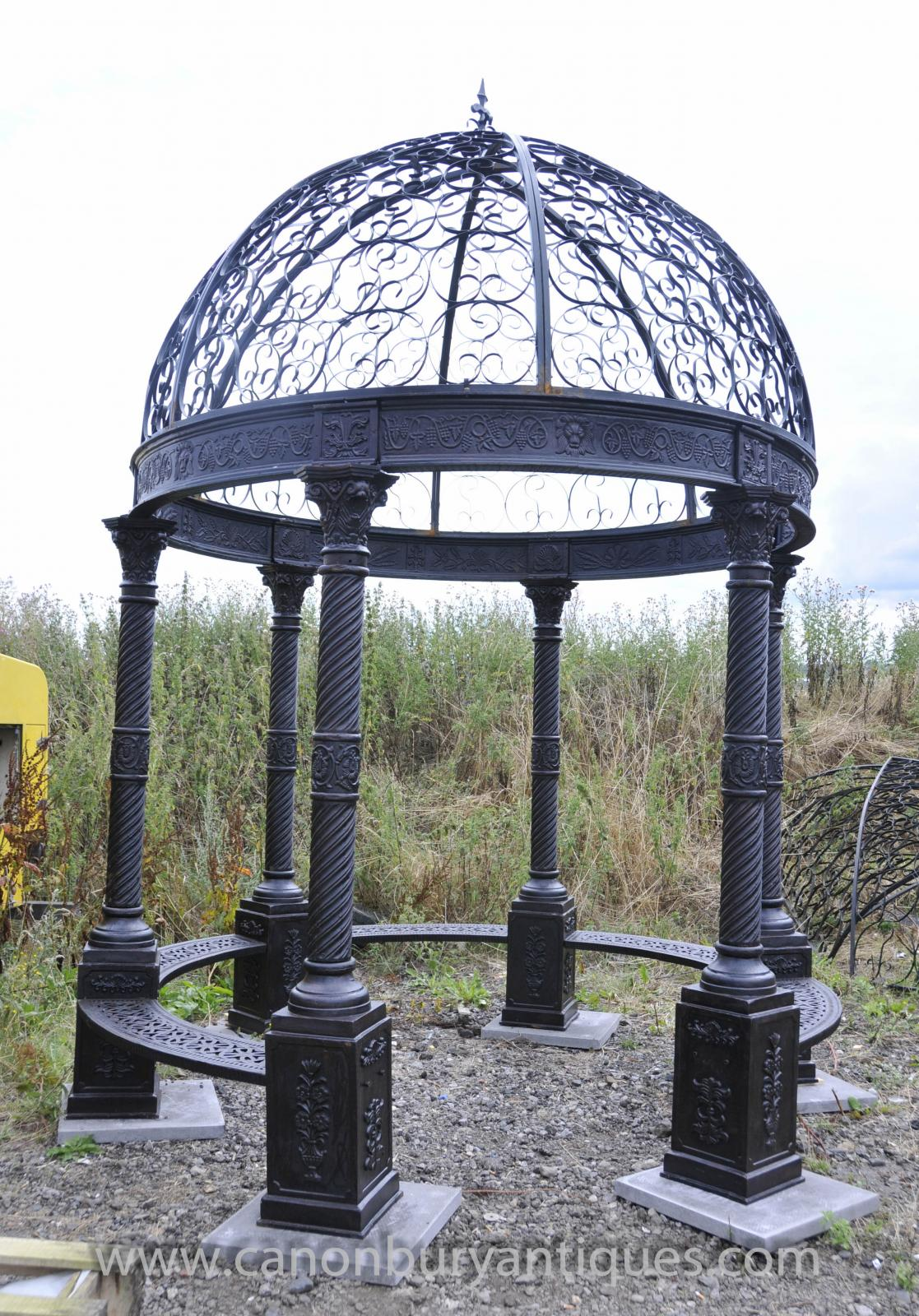Large Victorian Cast Iron Gazebo Architectural Garden Seat