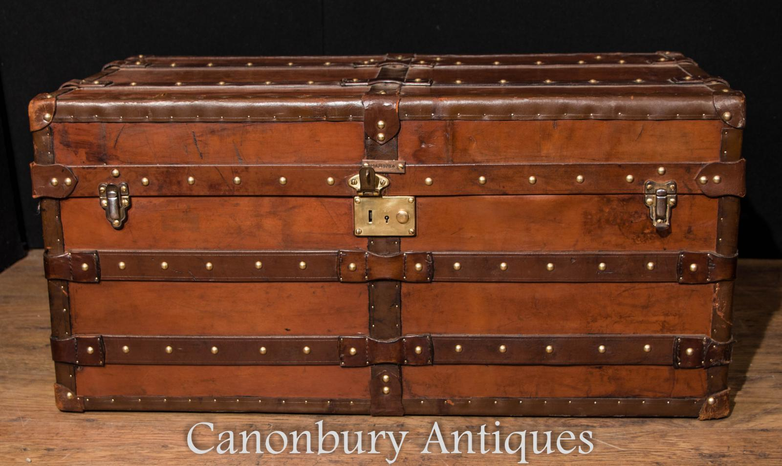 Large Antique English Leather Trunk Luggage Case Steamer Trunk Table Cheney Ebay