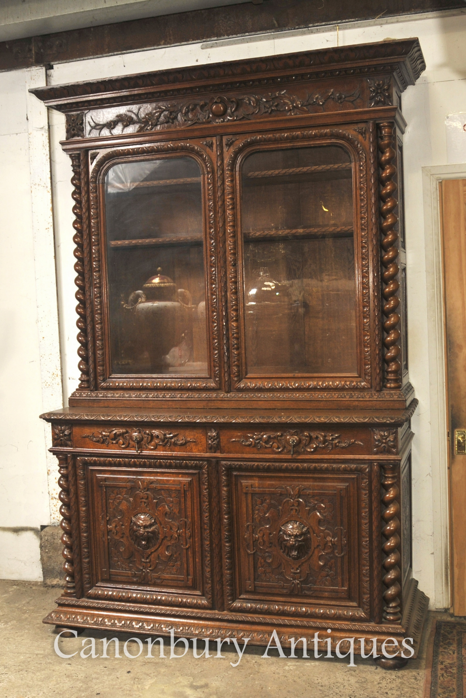 Large Antique Oak Cabinet Bookcase Farmhouse Barley Twist 1880 | eBay