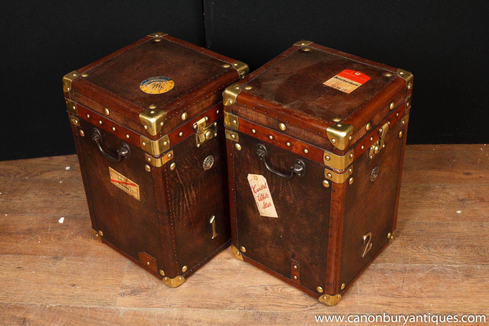 Leather Steamer Trunk Side Tables Luggage Box Coffee Table