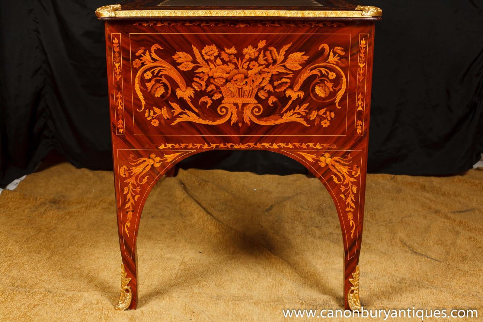 Louis XV Knee Hole Desk Writing Table Bureau Inlay French
