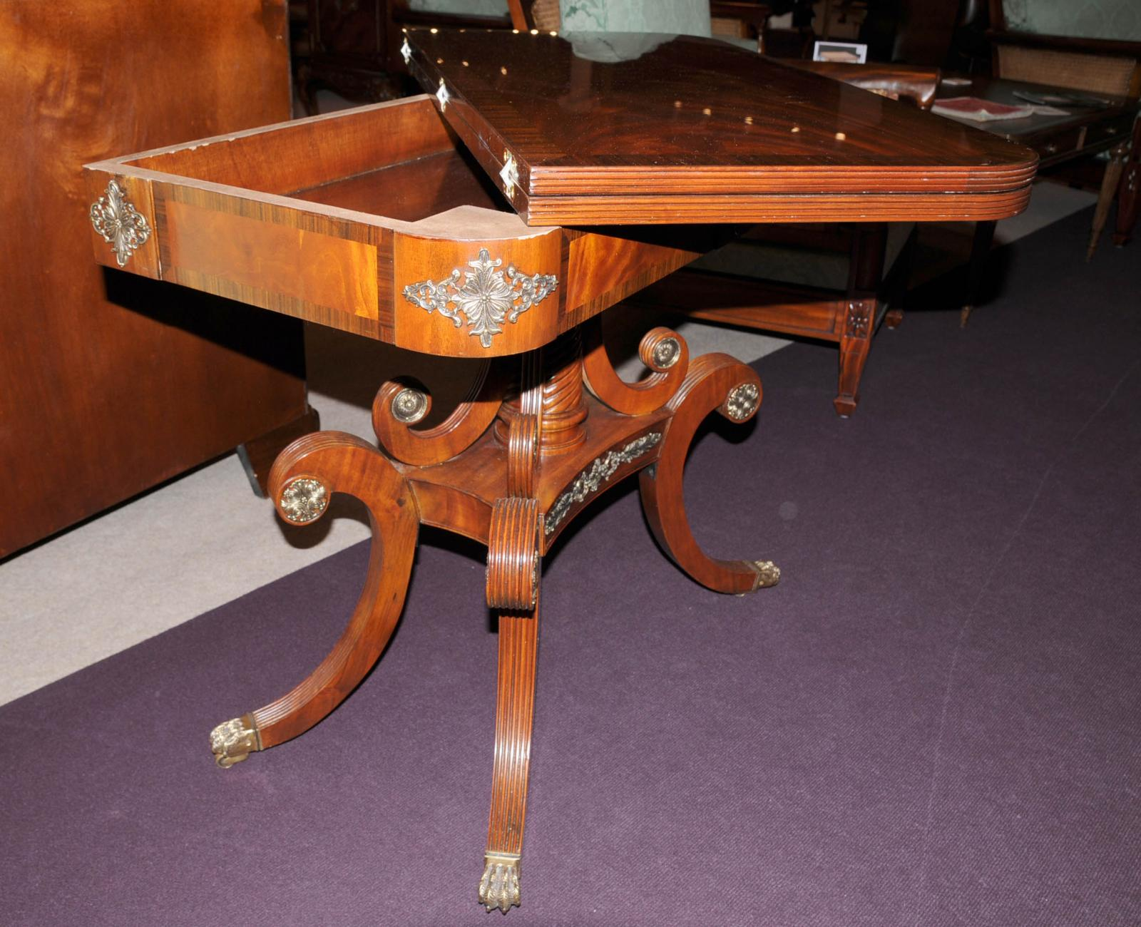 Antique card table regency card table inlaid card table antique - Contact Us Viewing Goods