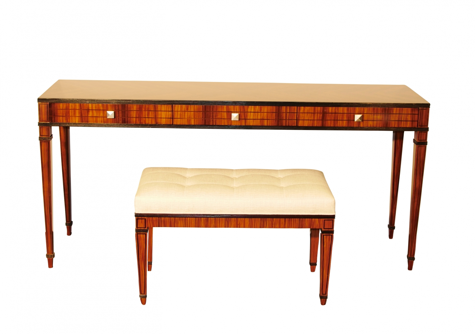 Mid Century Modern Console Table Vanity And Stool Set Santos Ebay