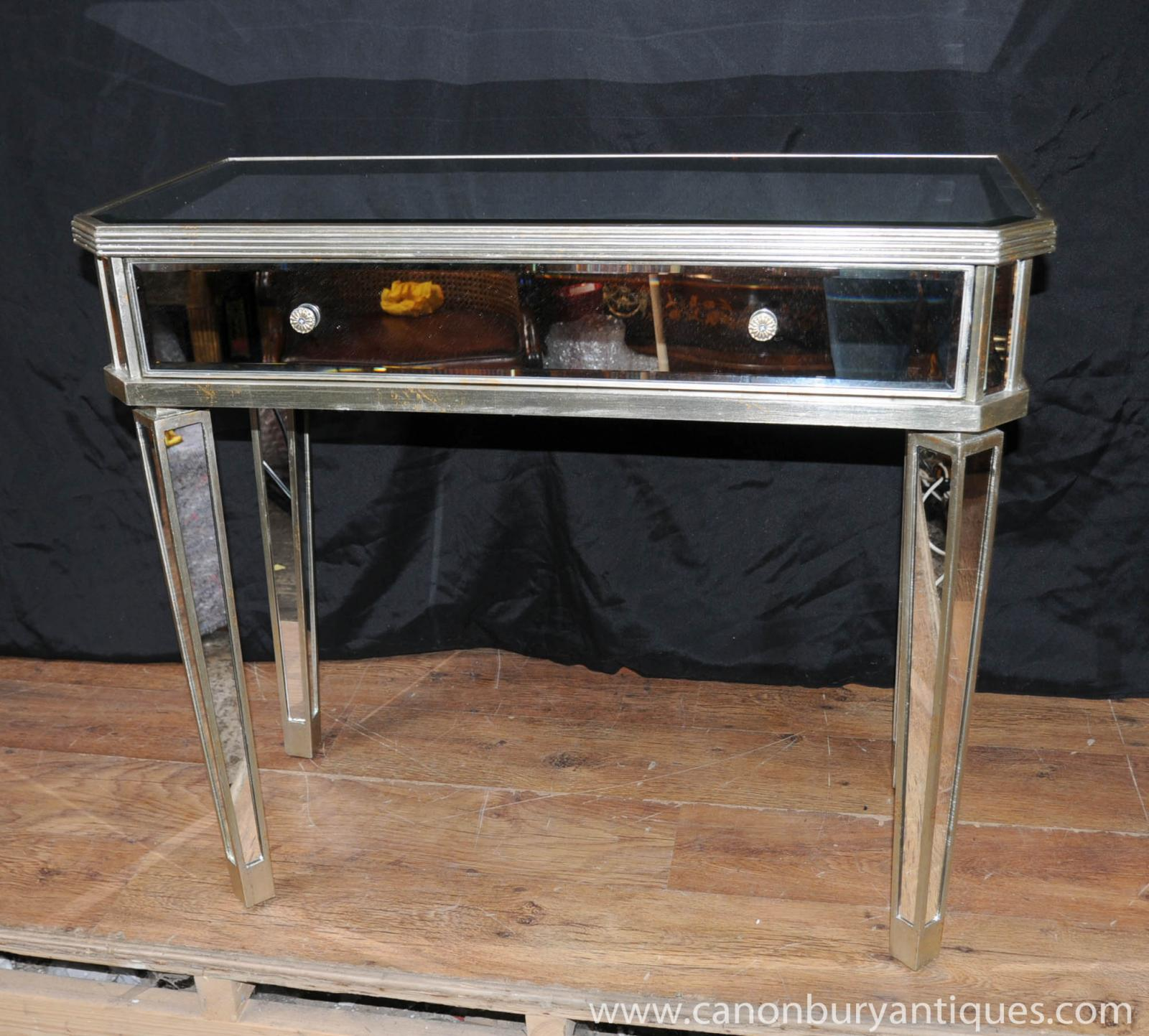 Mirrored hall console table side tables mirror deco - Table console miroir ...